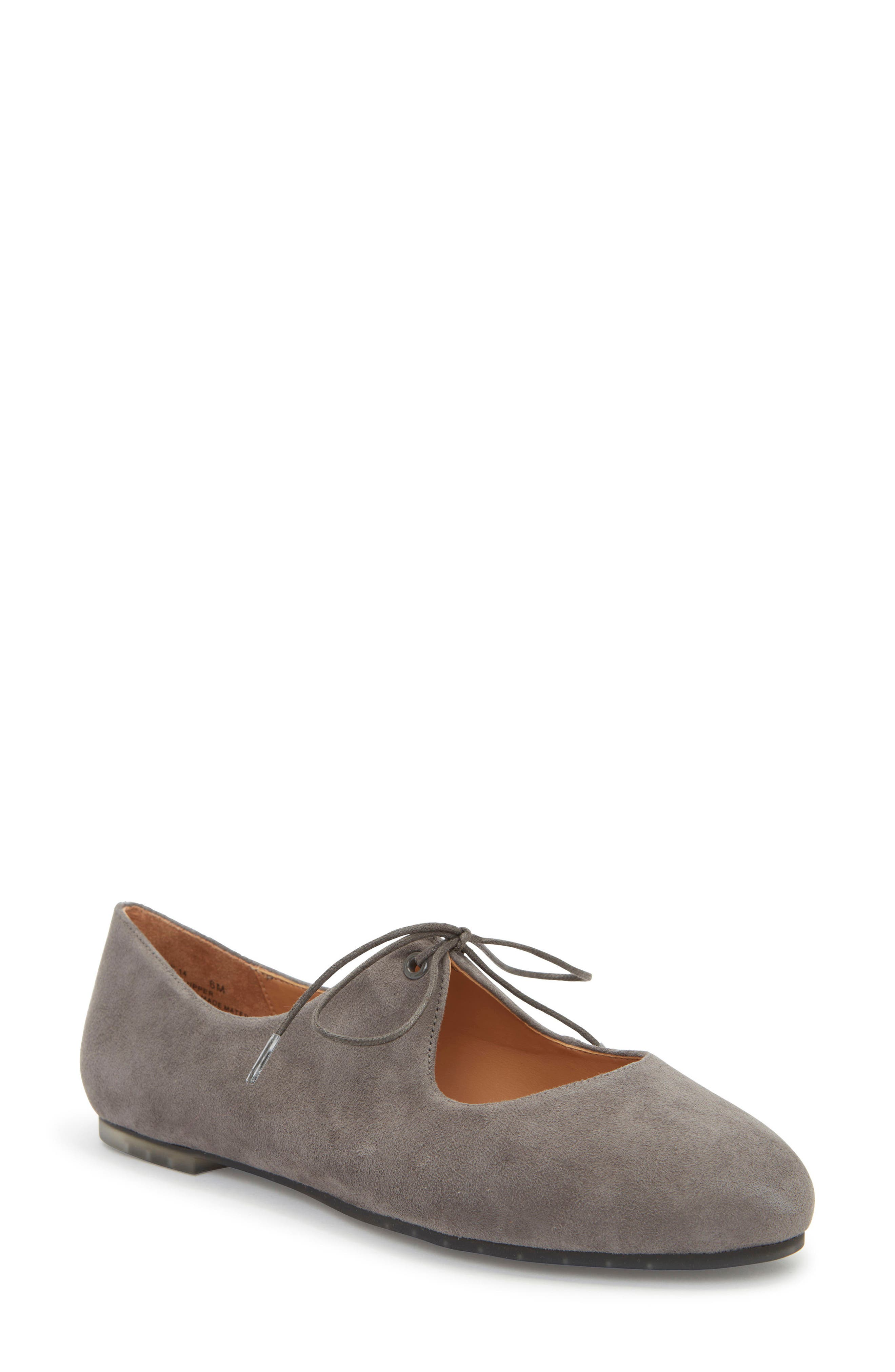 Cacey Mary Jane Flat,                         Main,                         color, Charcoal Suede