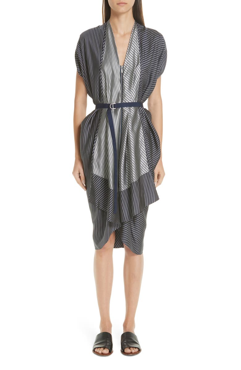 Mixed Stripe Zip Front Belted Dress