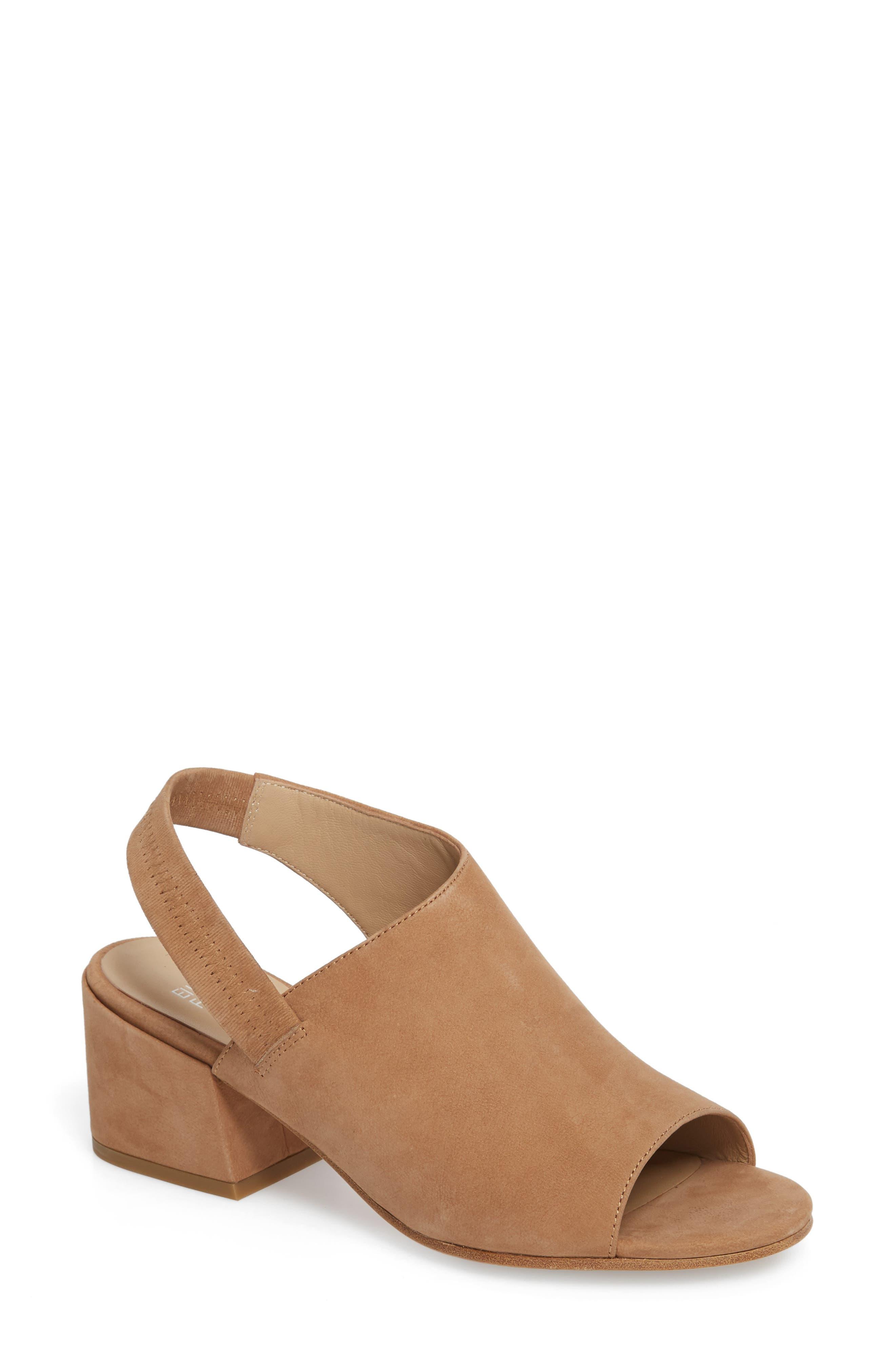 Leigh Asymmetrical Slingback Sandal,                         Main,                         color, Wheat Leather