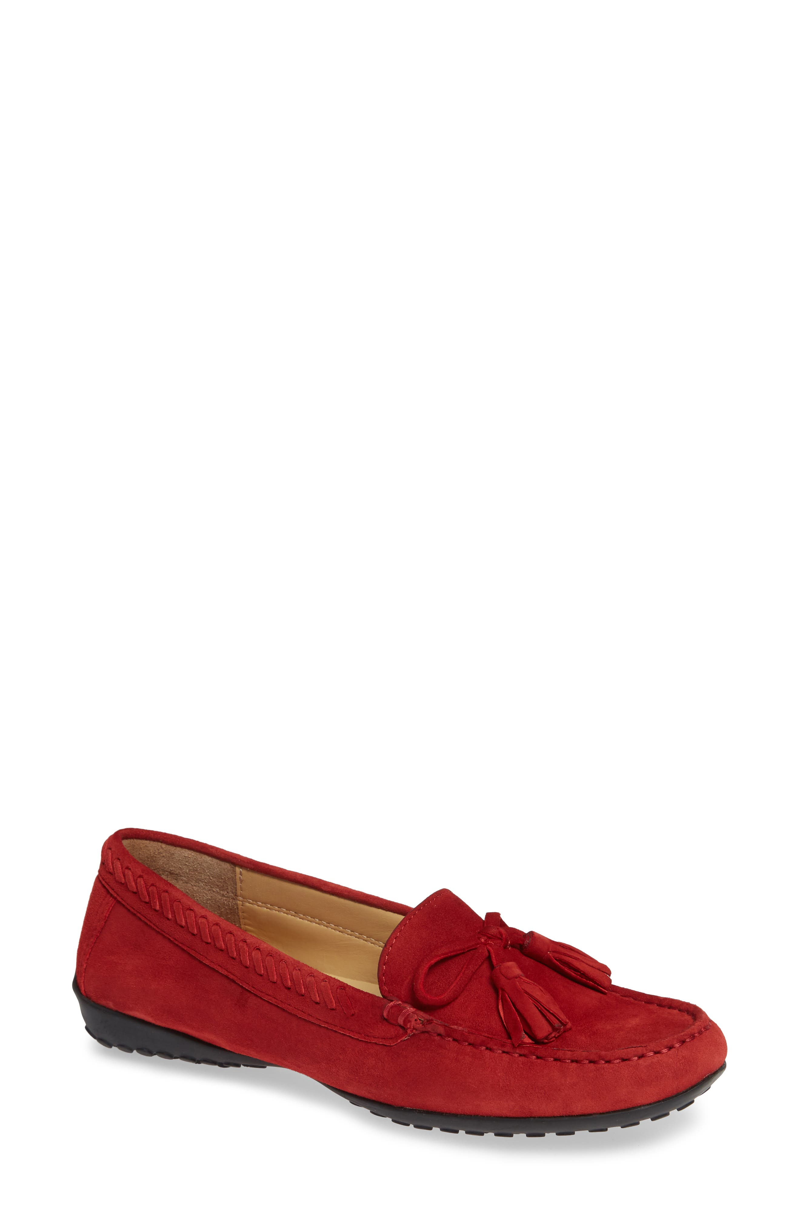Acajou Driving Moccasin,                             Main thumbnail 1, color,                             Red Suede