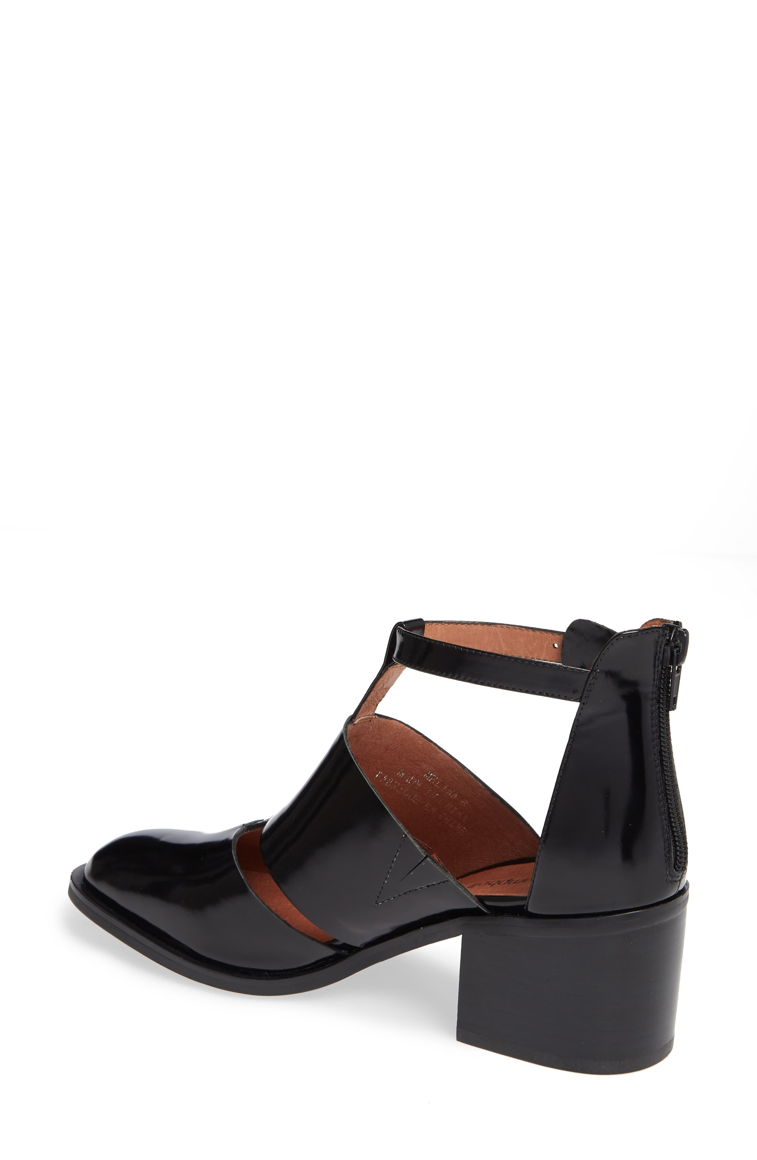 'Melina' T-Strap Shoe,                             Alternate thumbnail 2, color,                             Black Leather