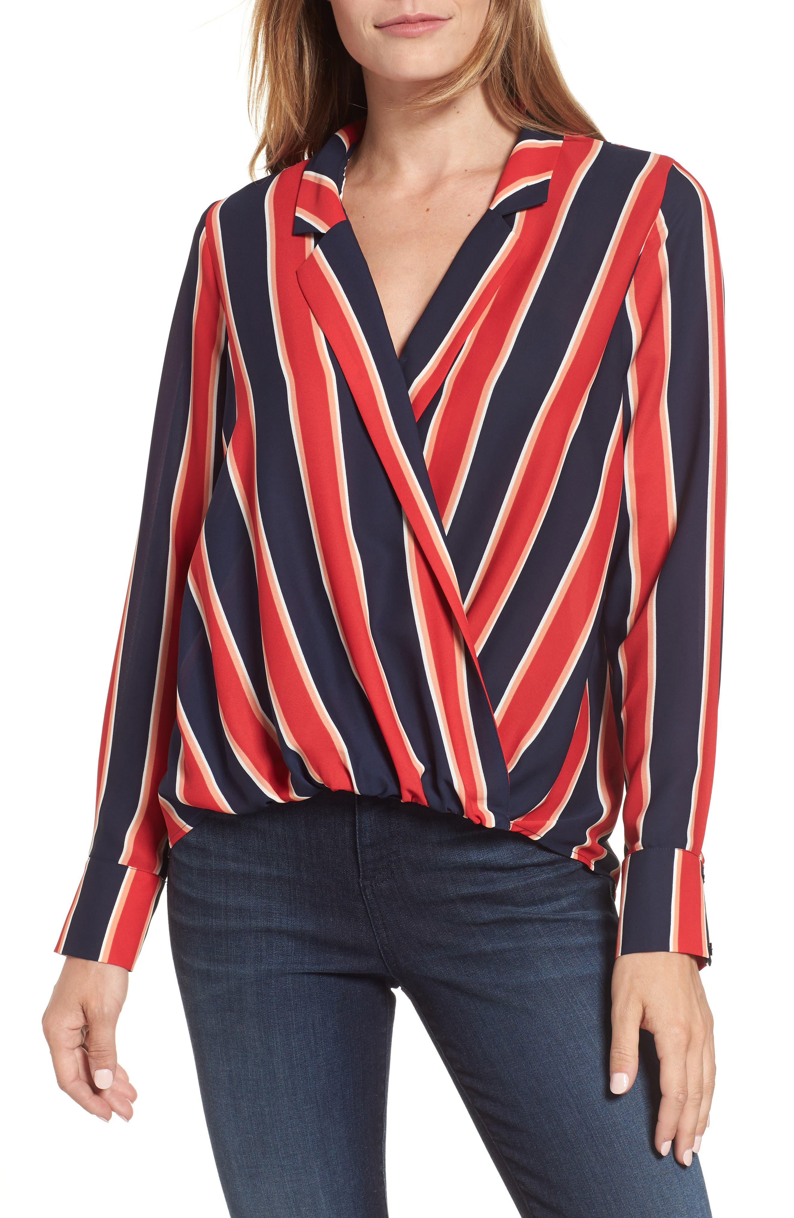 Surplice Drape Front Blouse,                             Main thumbnail 1, color,                             Blue/ White/ Red Stripe