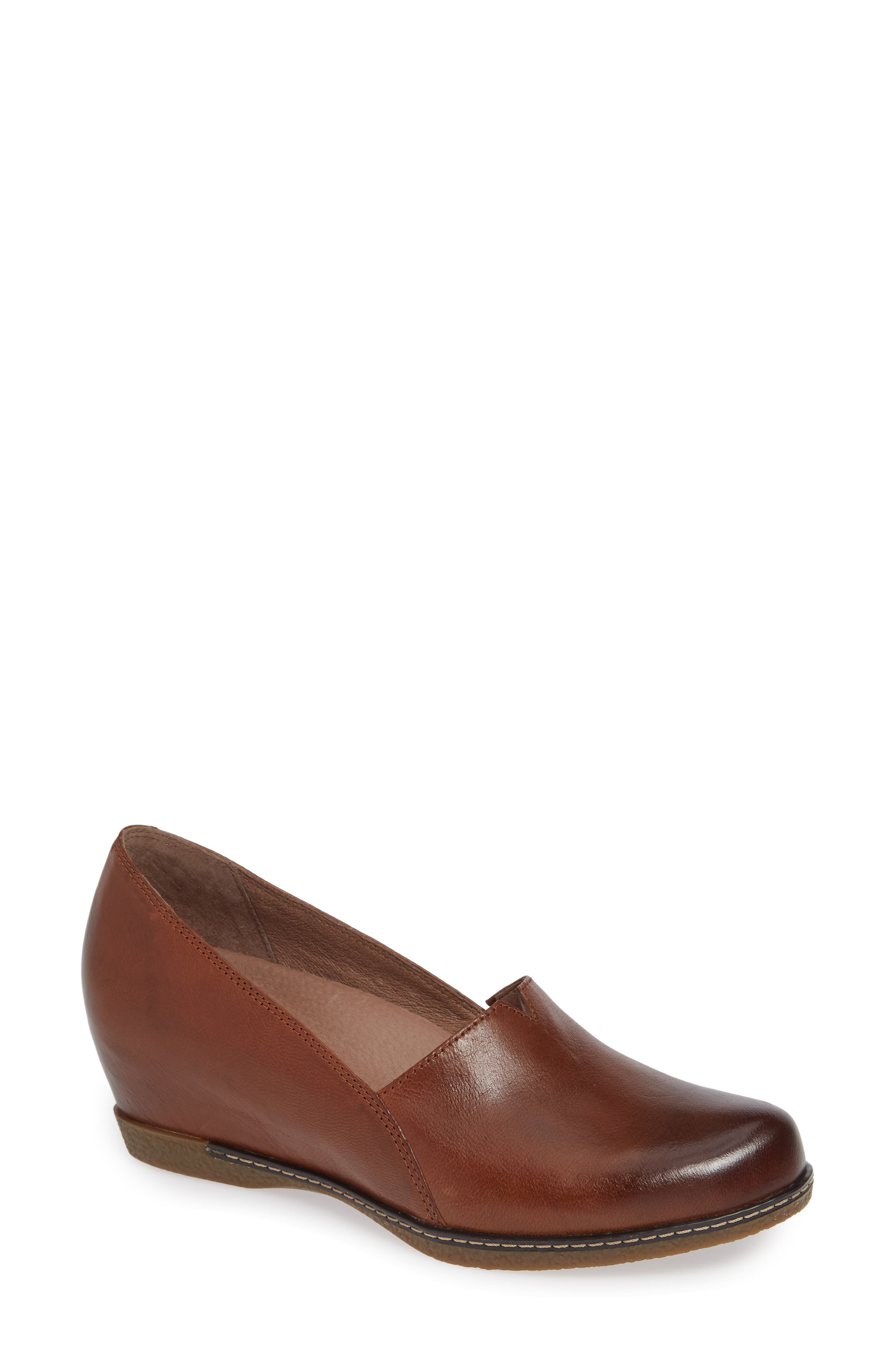 Liliana Concealed Wedge Slip-On,                             Main thumbnail 1, color,                             Chestnut Burnished Leather