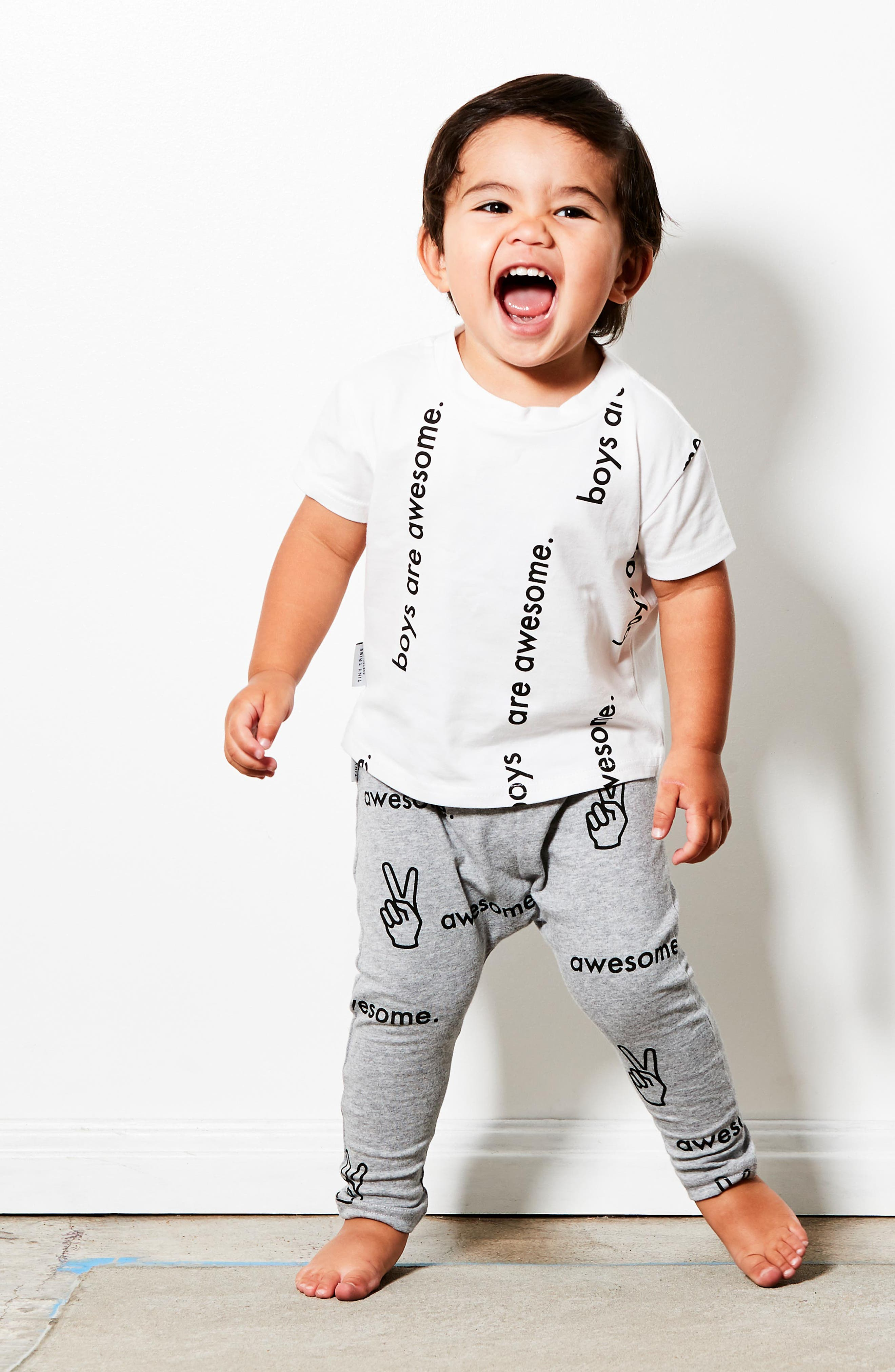 Boys are Awesome Graphic T-Shirt & Pants Set,                             Alternate thumbnail 3, color,                             White/ Grey