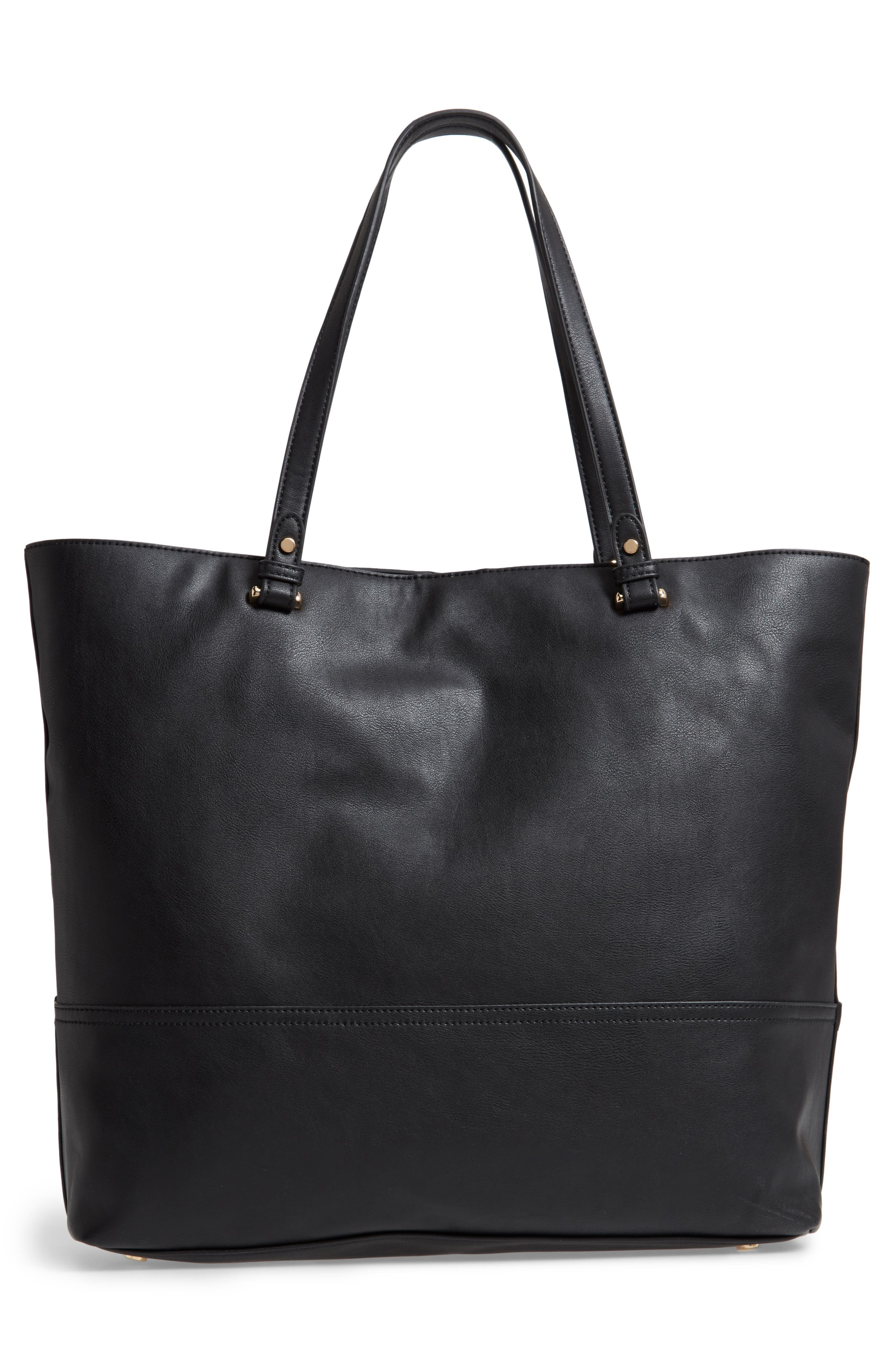 Oversize Faux Leather Tote,                             Alternate thumbnail 3, color,                             Black