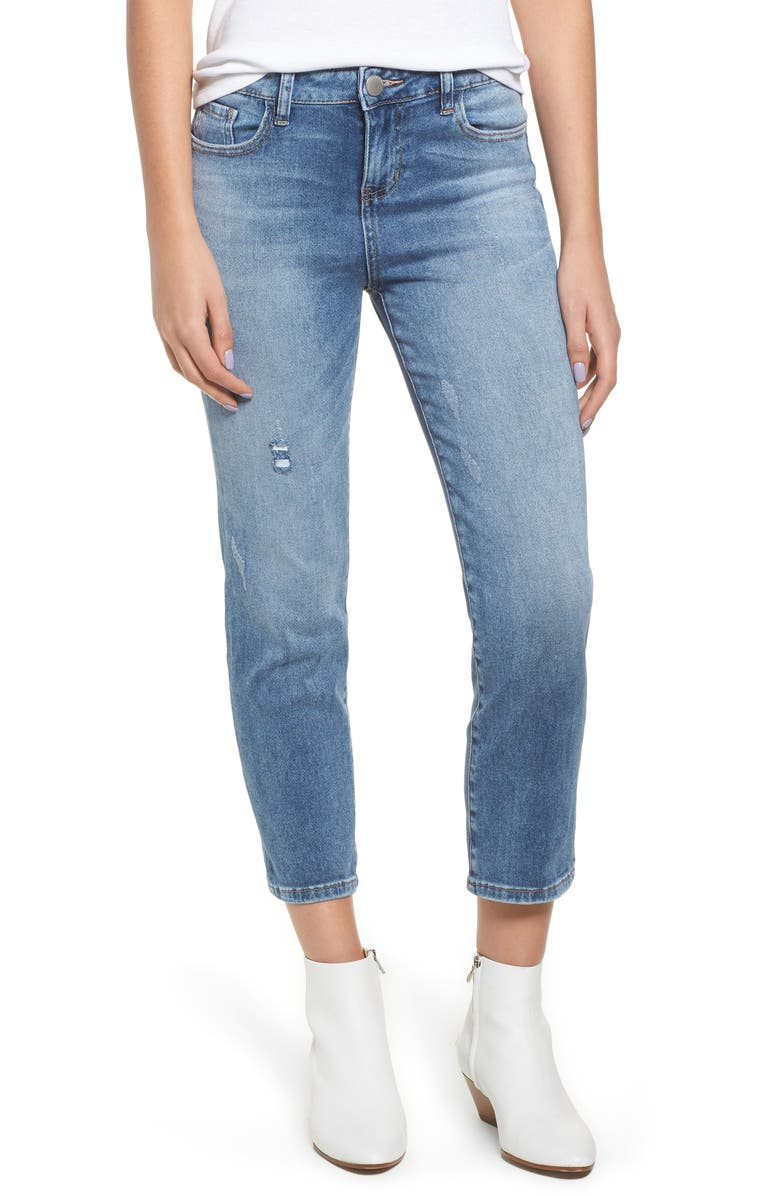 Washed Crop Straight Leg Jeans