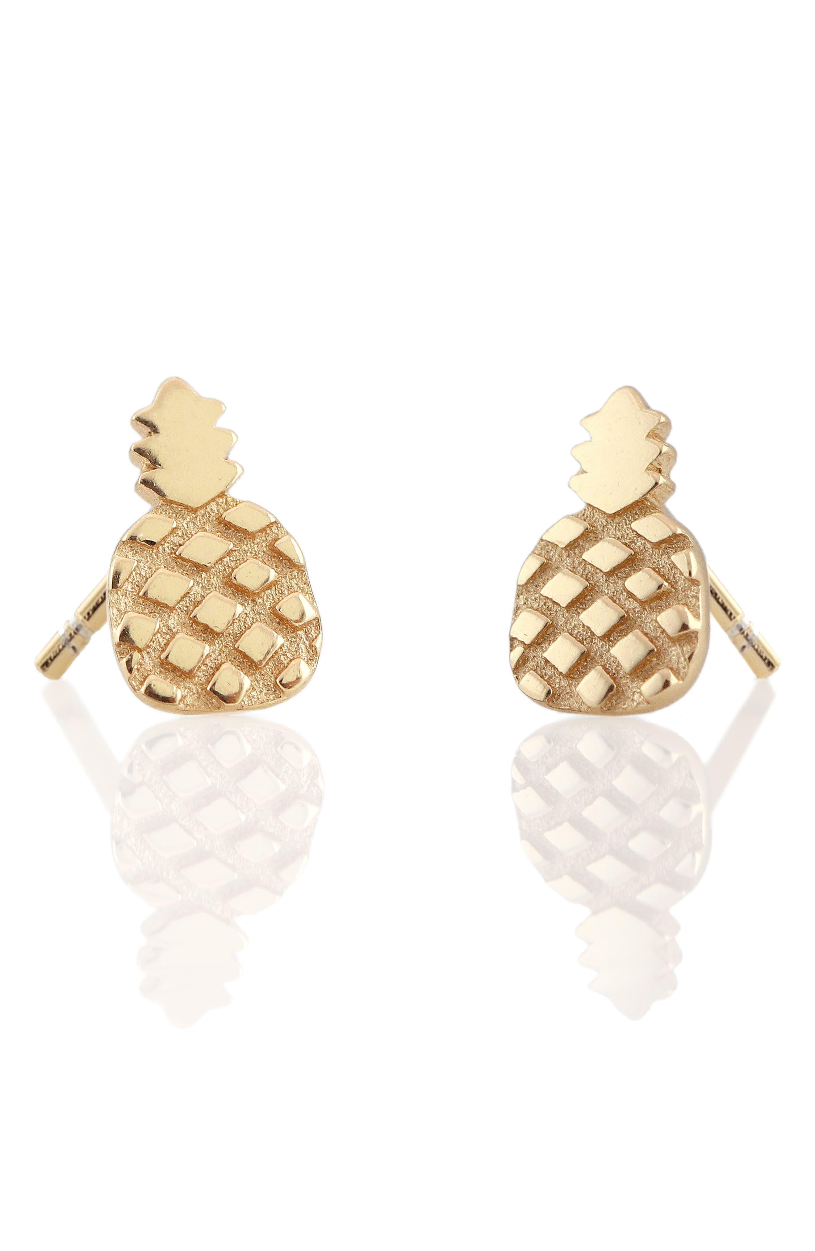 Pineapple Stud Earrings,                             Main thumbnail 1, color,                             Gold