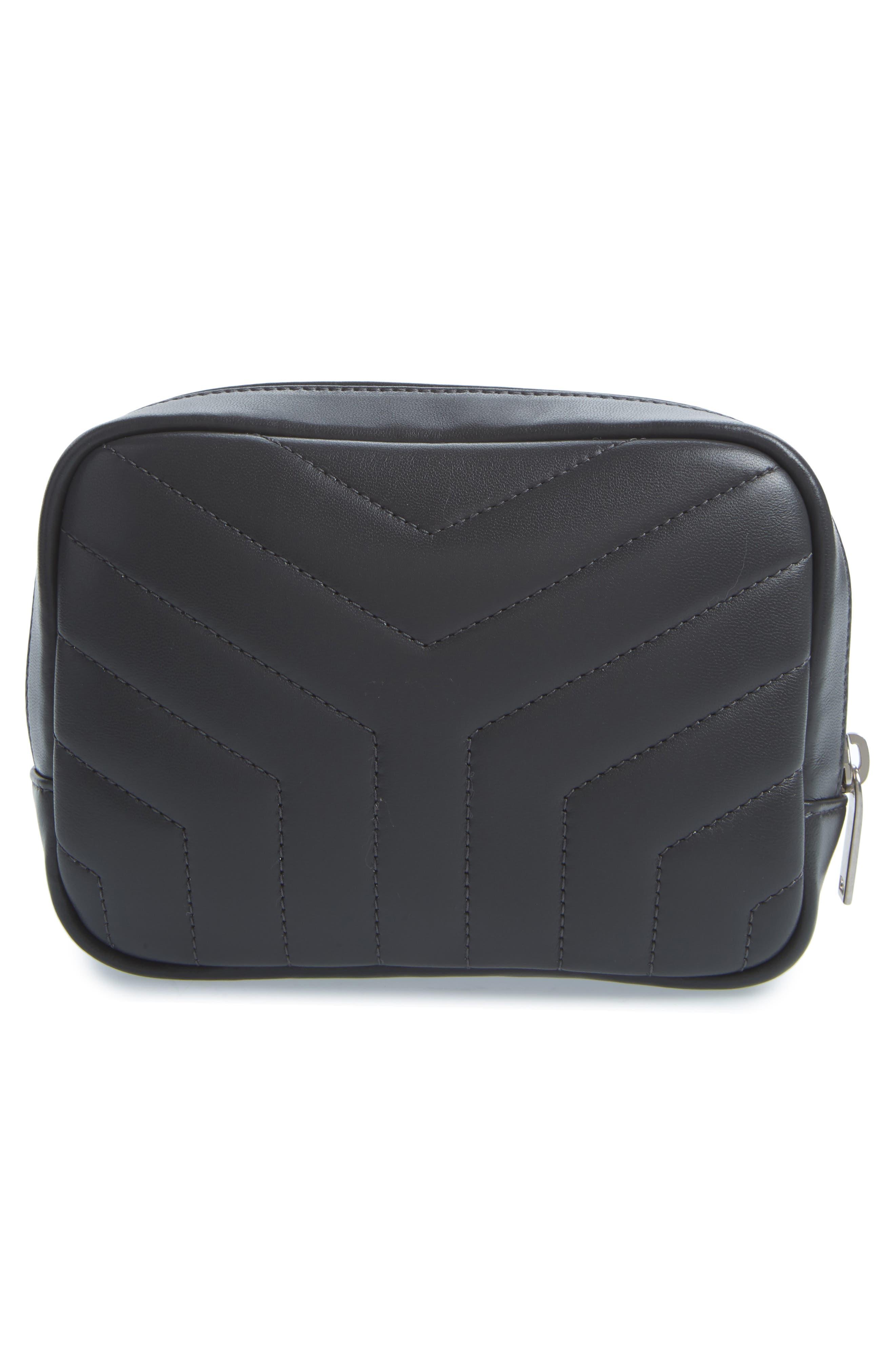 Loulou Matelassé Leather Cosmetics Bag,                             Alternate thumbnail 2, color,                             Storm