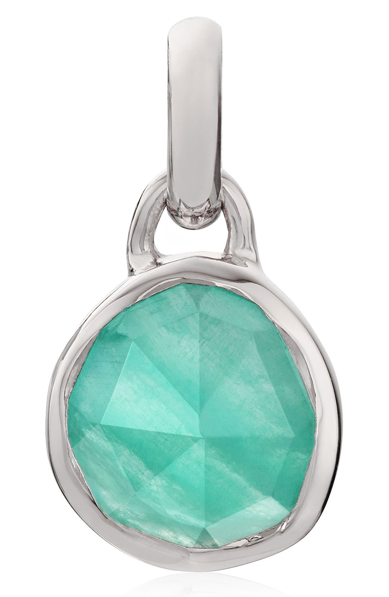 Siren Black Line Onyx Pendant,                         Main,                         color, Silver/ Amazonite