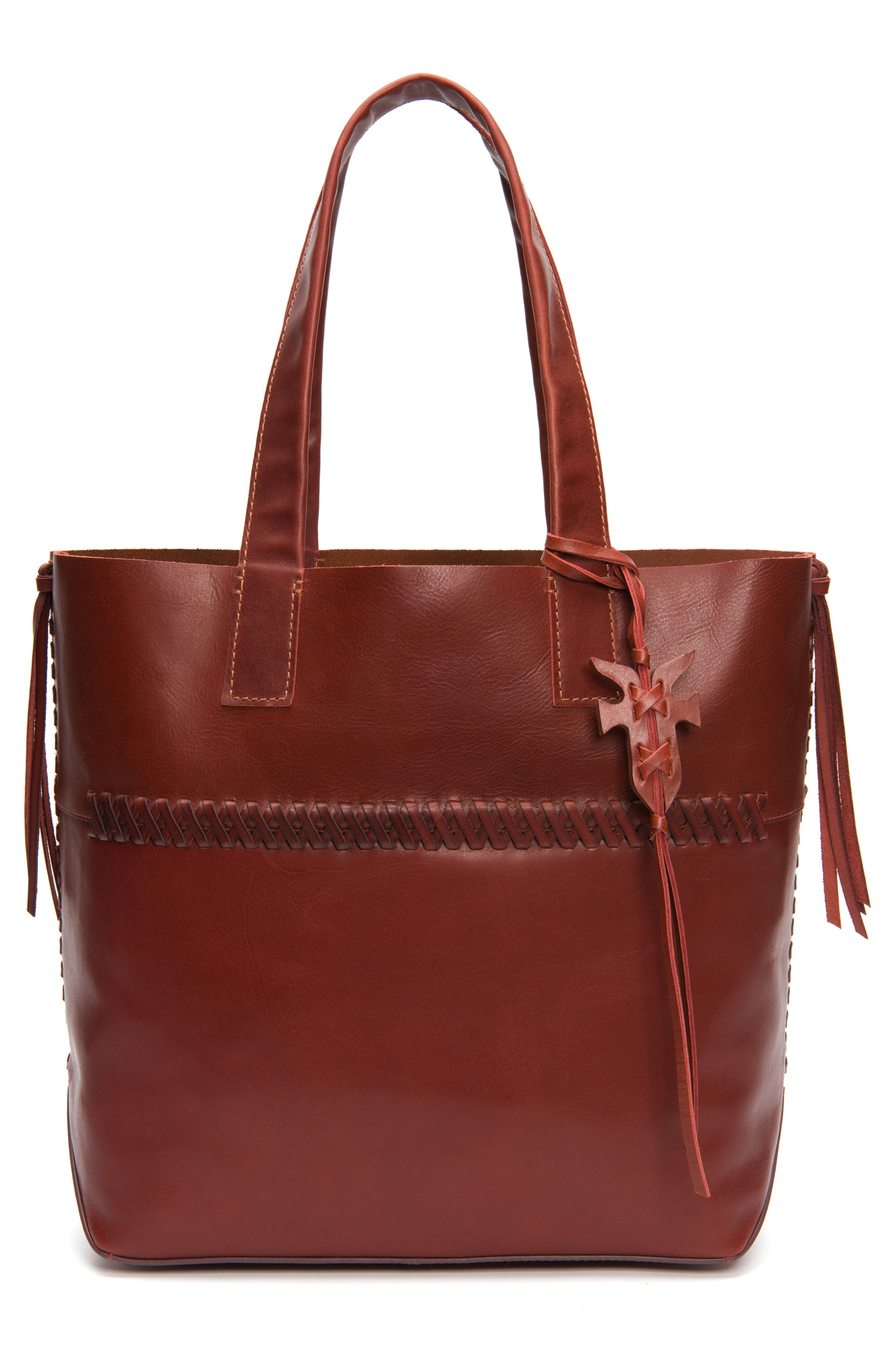 CARSON WHIPSTITCH CALFSKIN LEATHER TOTE - RED