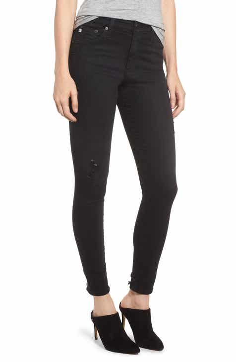AG The Farrah High Waist Ankle Skinny Jeans (3 Years Black Caf)