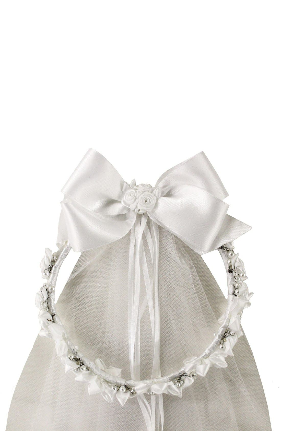 Main Image - Sorbet Communion Wreath with Removable Veil (Girls)