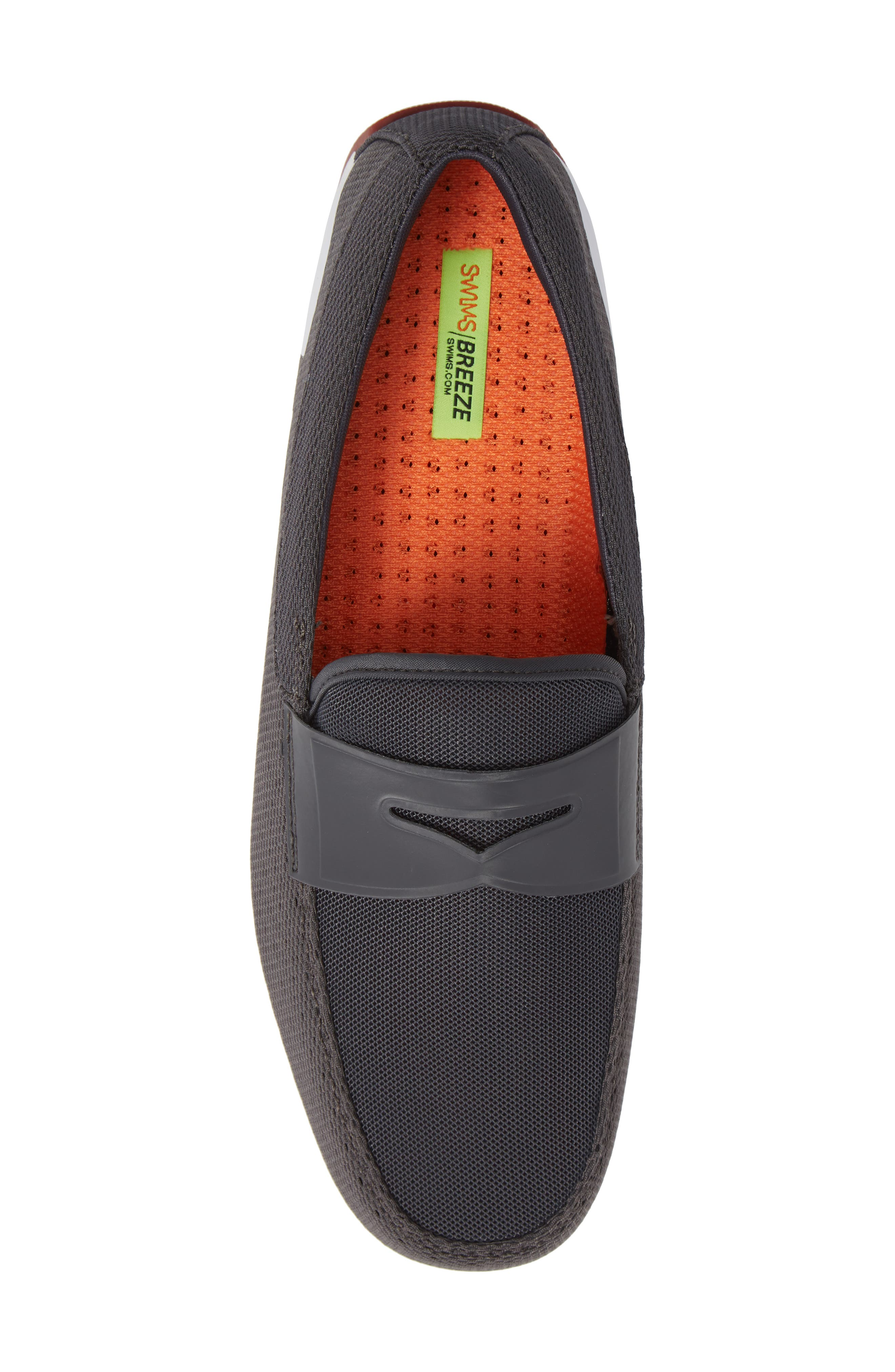 Breeze Penny Loafer,                             Alternate thumbnail 4, color,                             Dark Gray/Red Lacquer