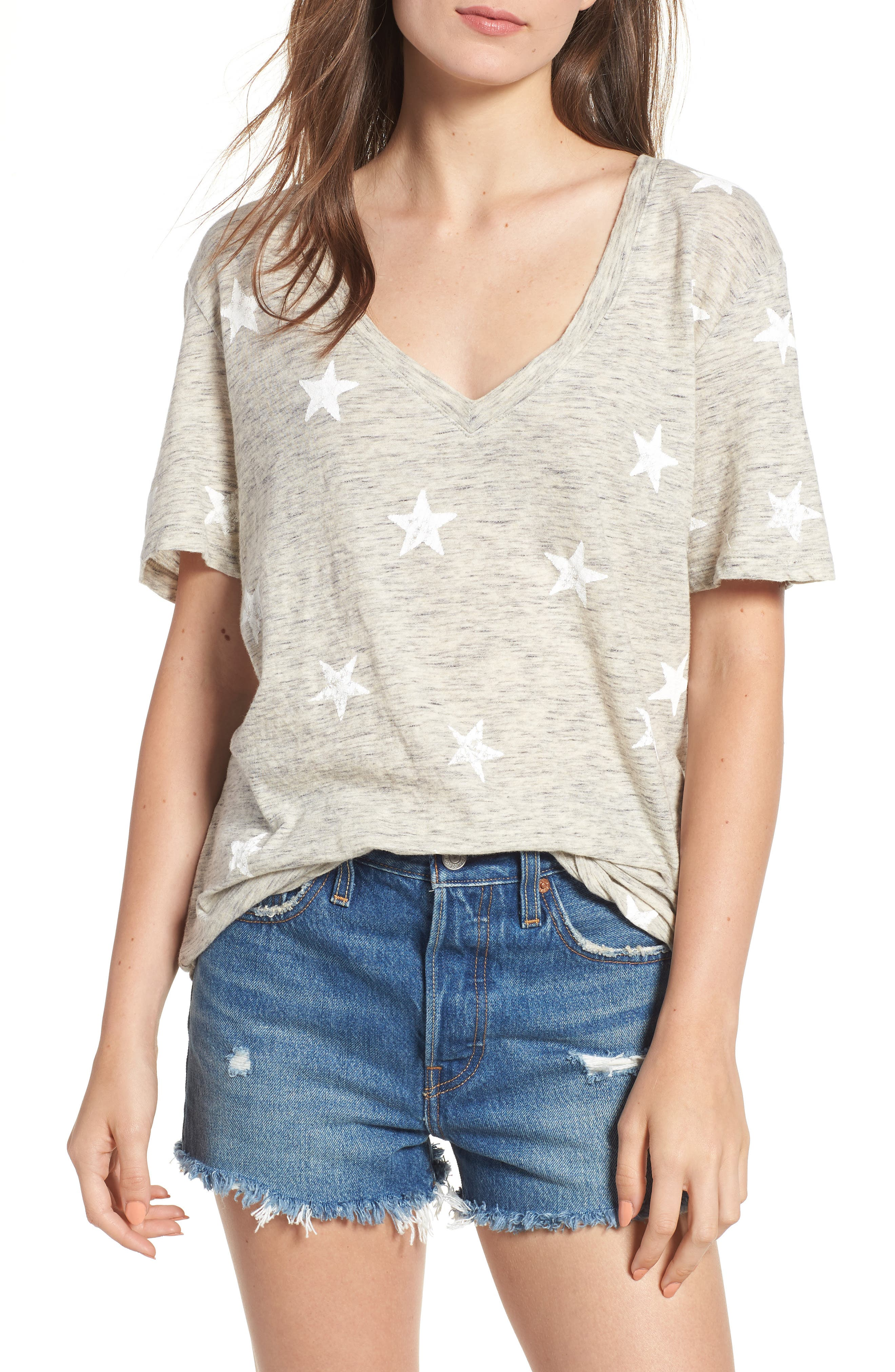 Star Tee,                         Main,                         color, Grey/ White