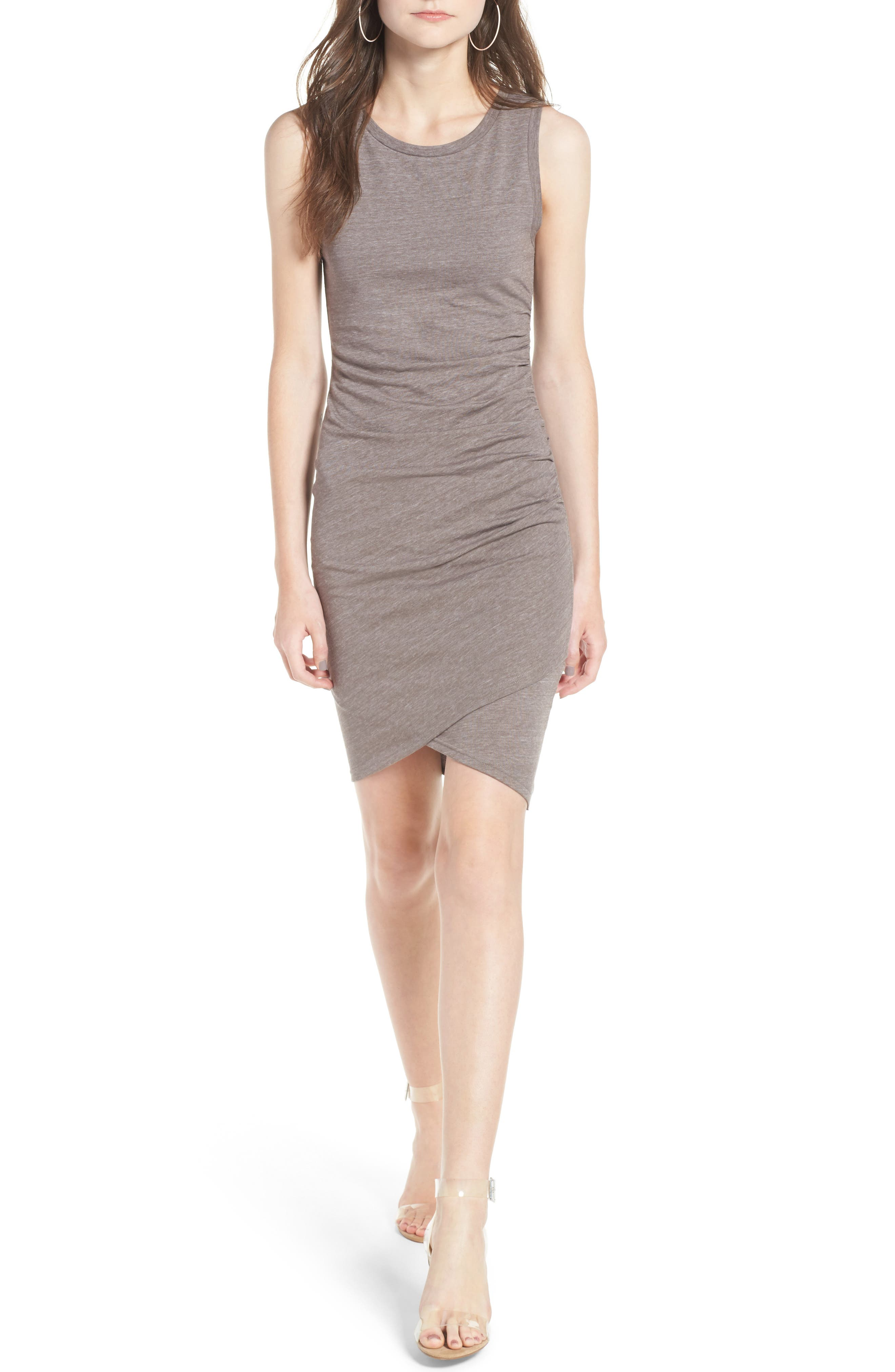 Ruched Body-Con Tank Dress,                         Main,                         color, Tan Dusk Heather
