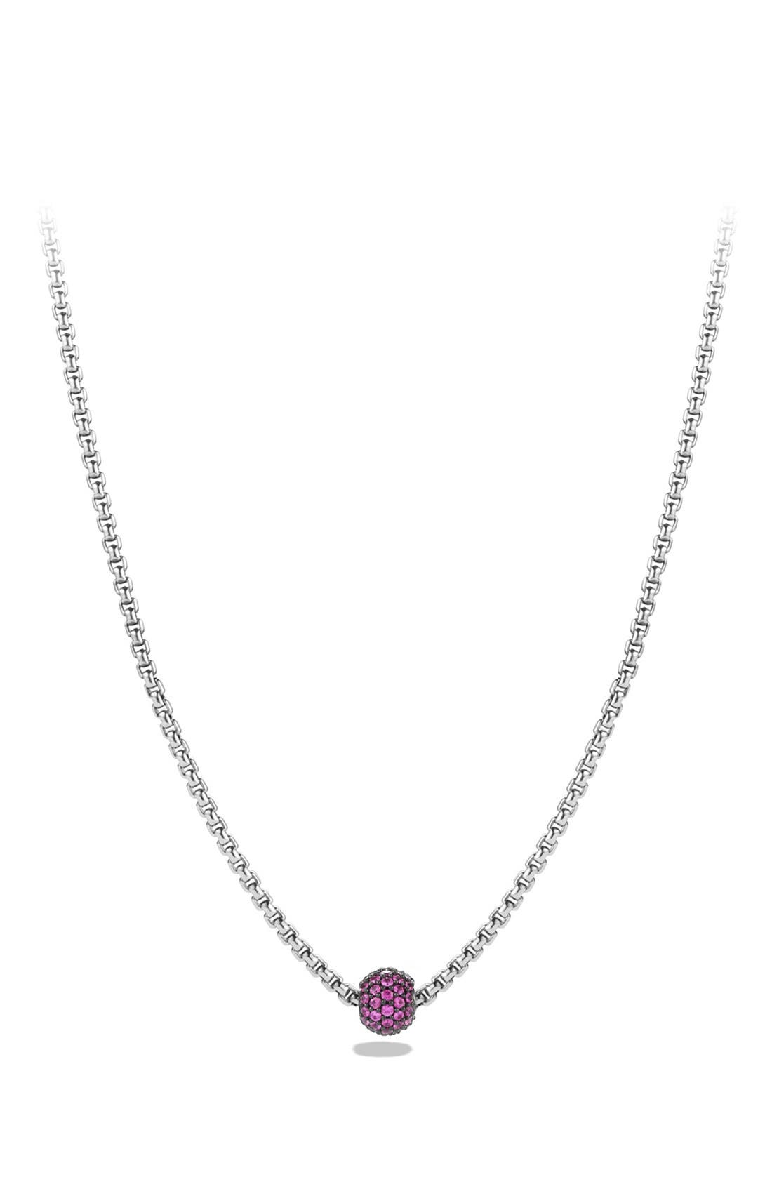 'Metro' Petite Pavé Chain Necklace with Sapphires,                         Main,                         color, Pink Sapphire