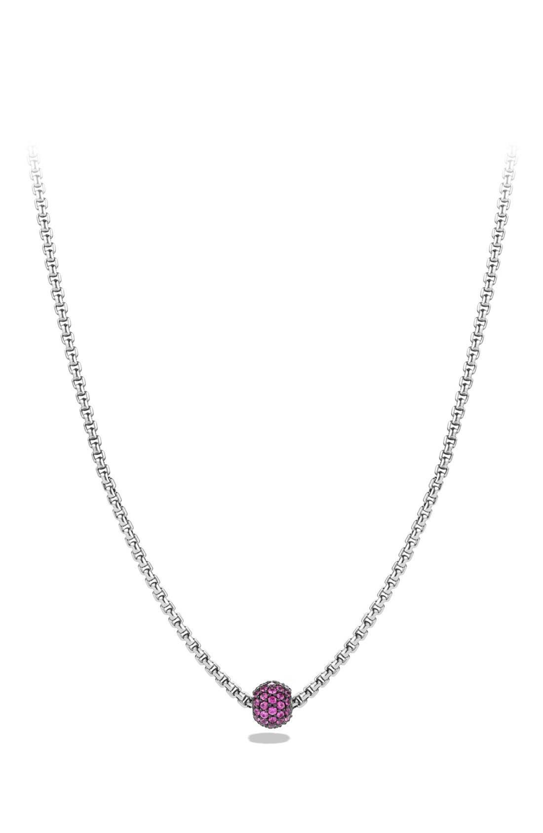 David Yurman 'Metro' Petite Pavé Chain Necklace with Sapphires