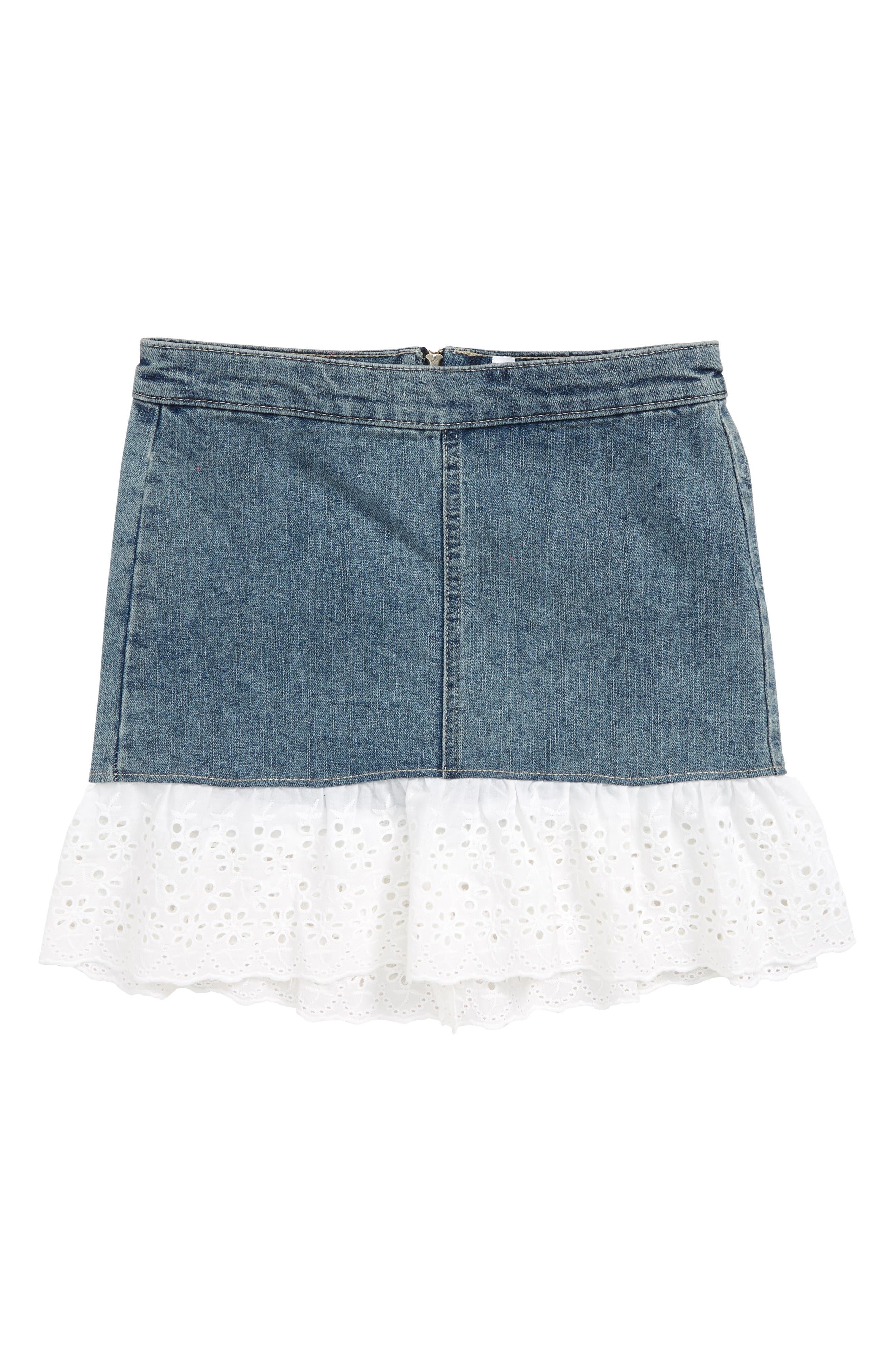 Denim Skirt,                             Main thumbnail 1, color,                             Marissa Wash