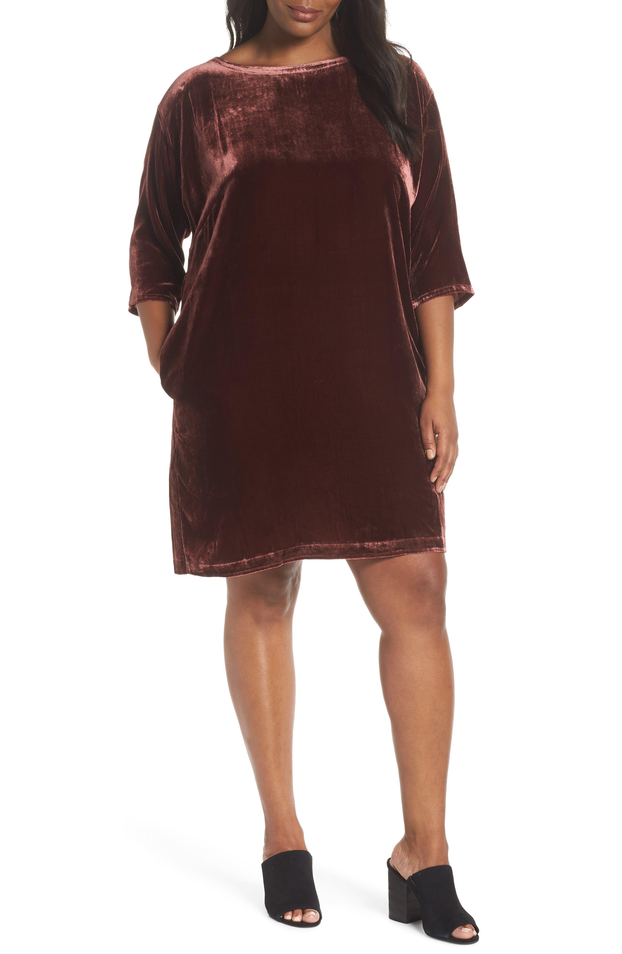 Velvet Shift Dress,                             Main thumbnail 1, color,                             Dark Monterey