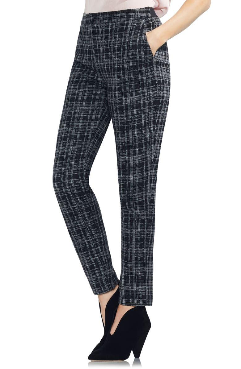 Glen Plaid Slim Leg Pants,                         Main,                         color, Rich Black