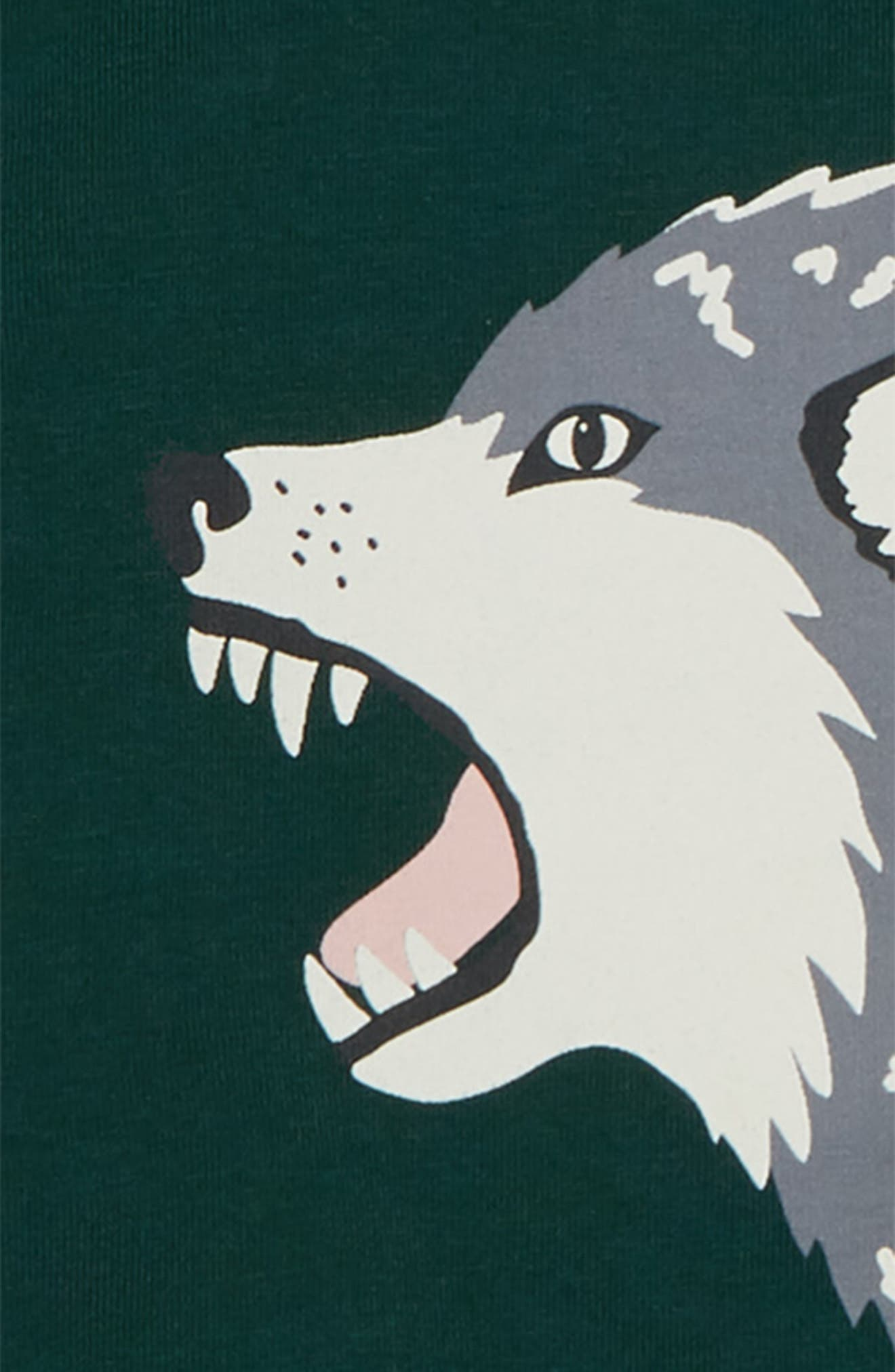 Glow in the Dark Wolf T-Shirt,                             Alternate thumbnail 2, color,                             Scotts Pine Green