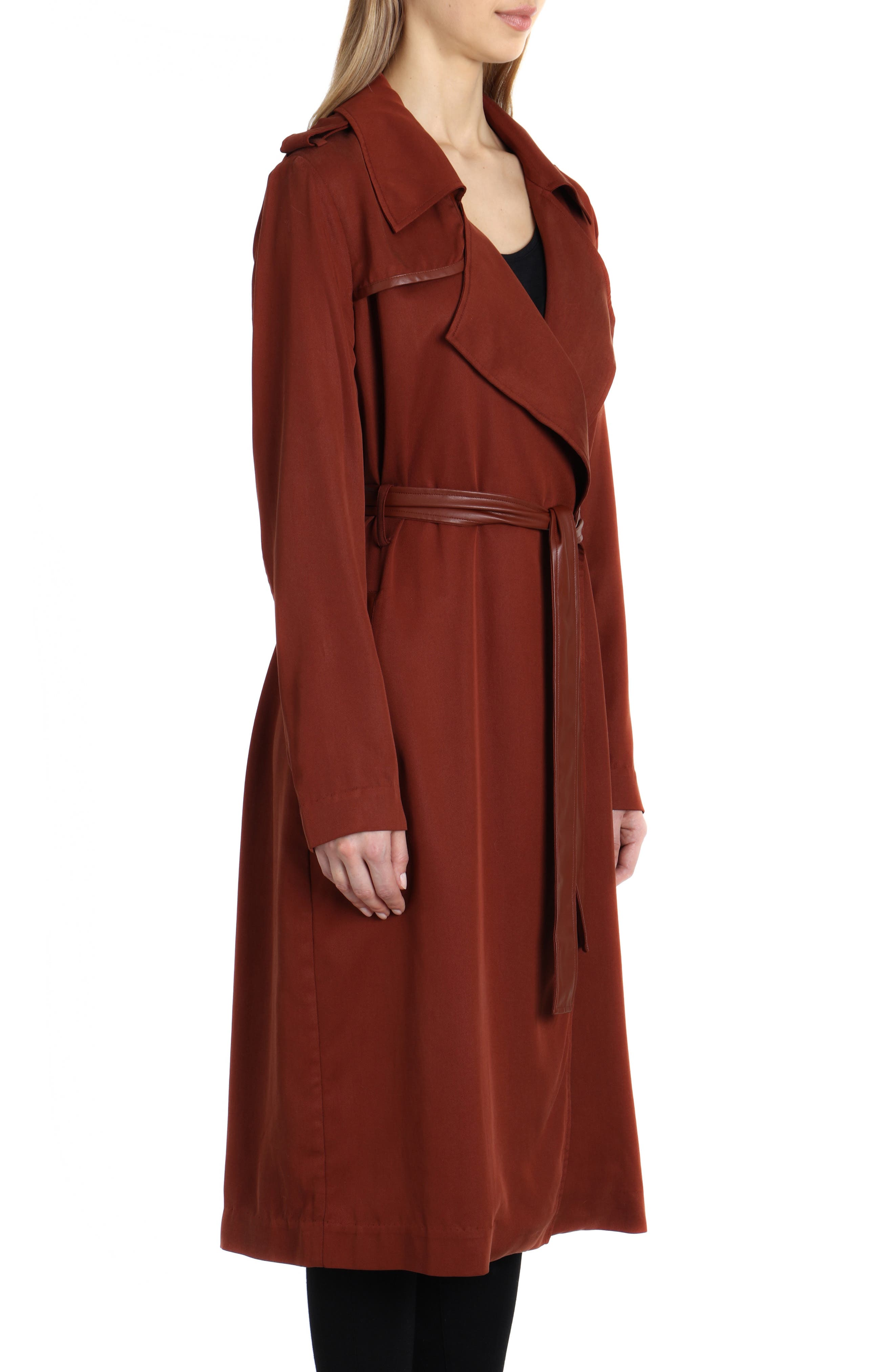 Faux Leather Trim Long Trench Coat,                             Alternate thumbnail 3, color,                             Sahara