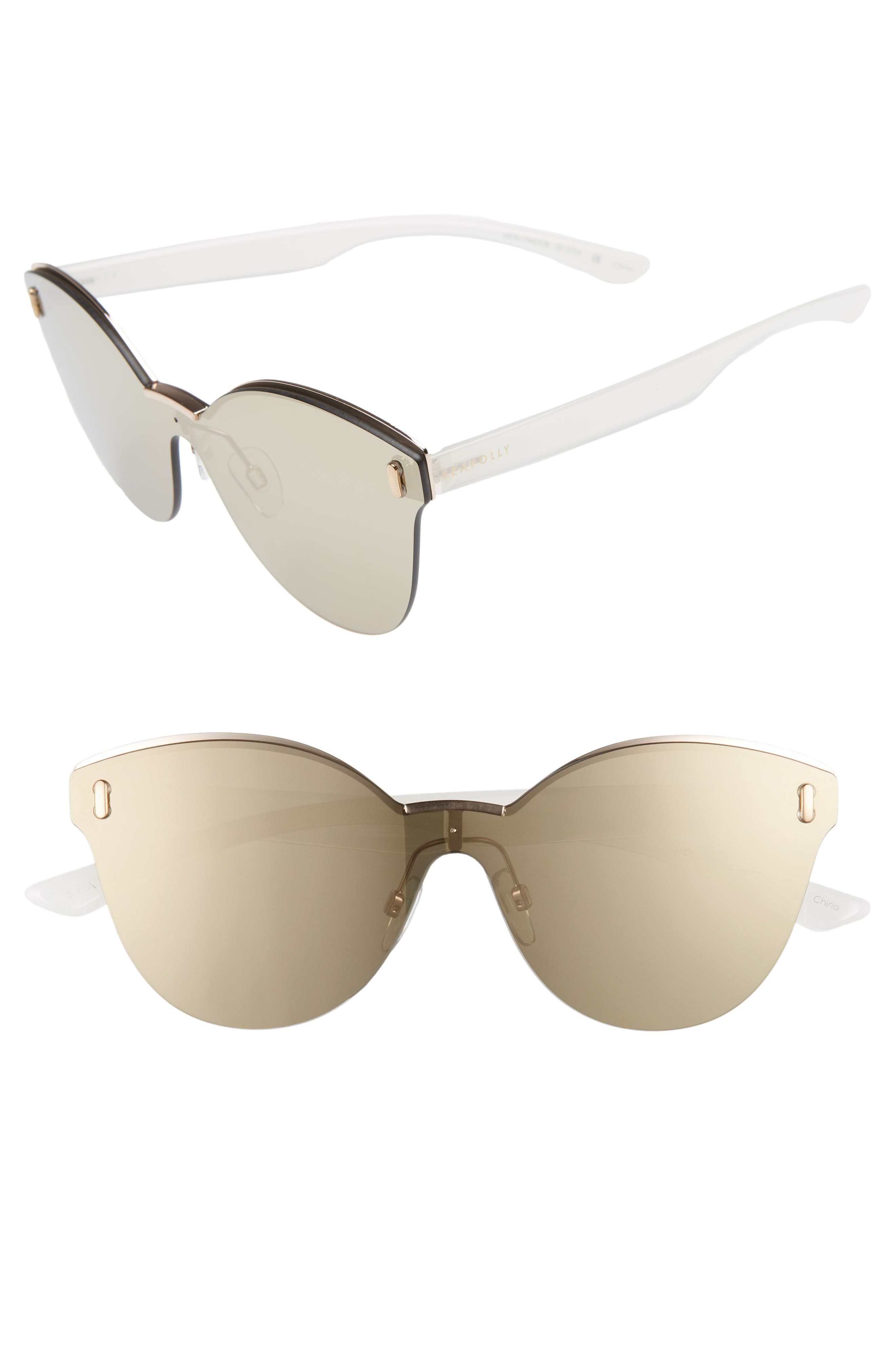 SEAFOLLY MOLLYMOCK 66MM CAT EYE SUNGLASSES - GOLD/ GOLD