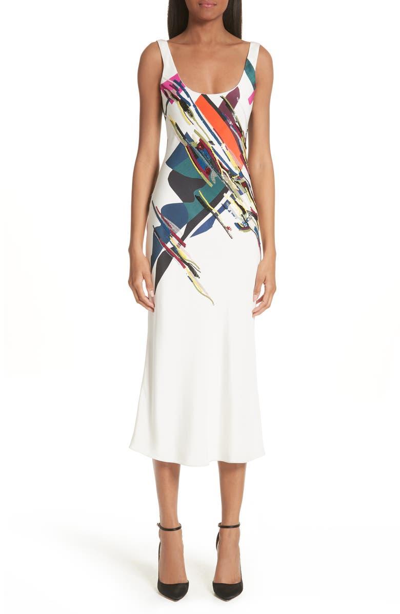 Devona Beaded Expressionist Print Dress
