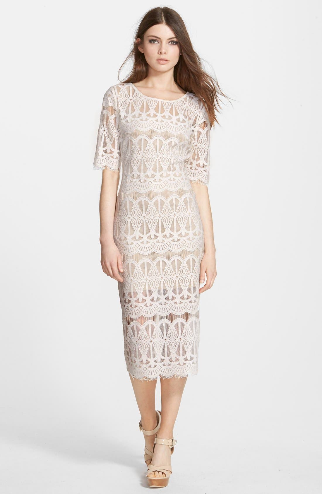Lace Body-Con Dress,                             Main thumbnail 1, color,                             Ivory