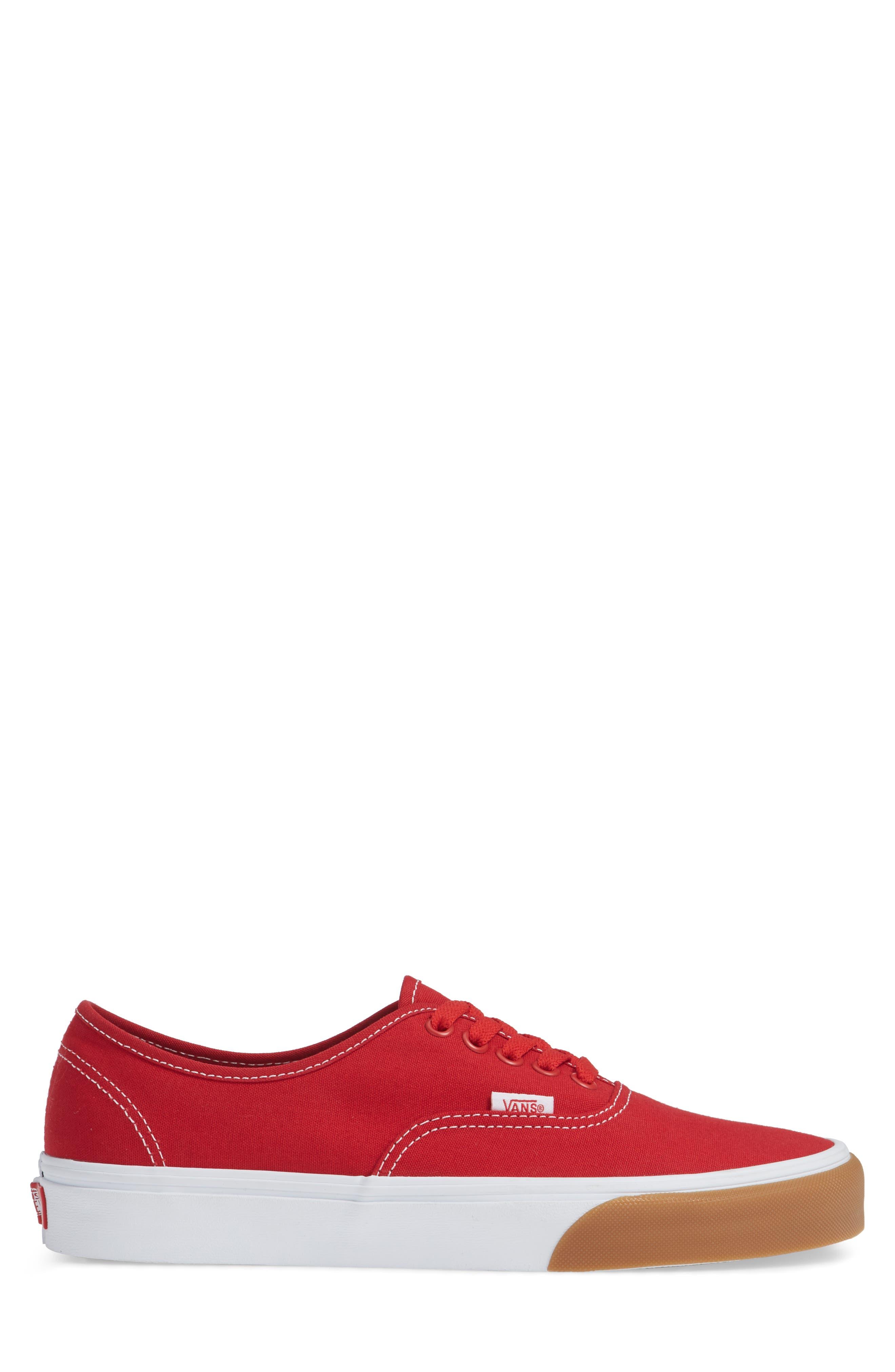 Authentic Gum Bumper Sneaker,                             Alternate thumbnail 3, color,                             Red/ True White