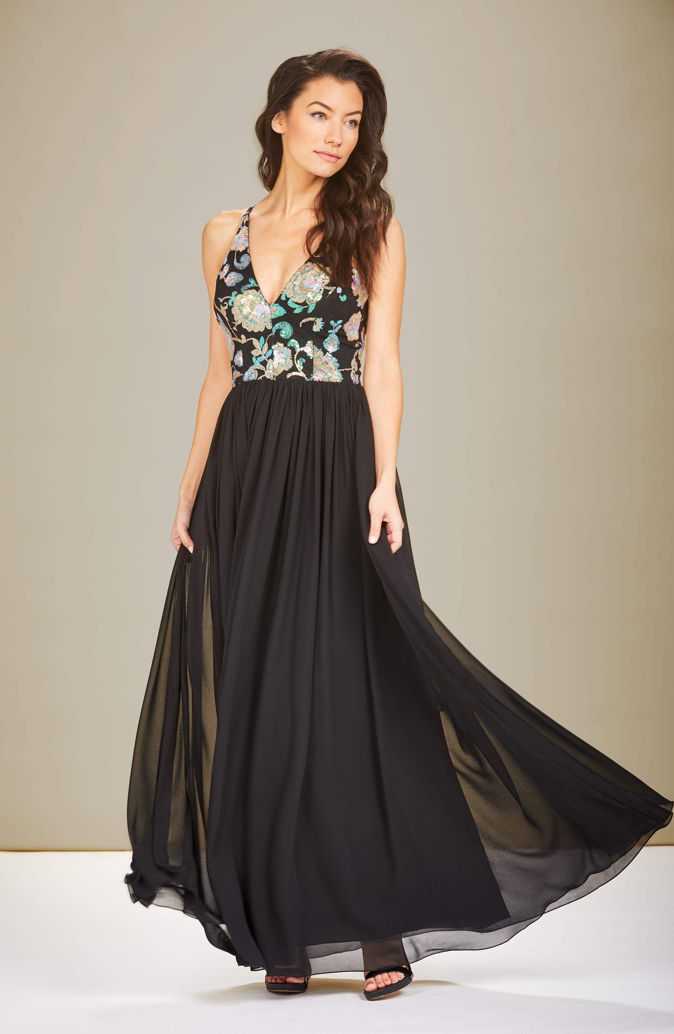 Adriana Sequin Bodice Gown,                             Alternate thumbnail 2, color,                             Black/ Iridescent Floral