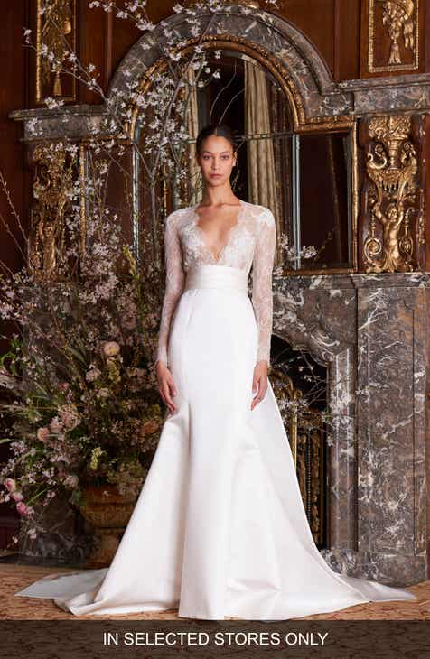 8ae505b707ce Monique Lhuillier Albertine Long Sleeve Lace Bodice Wedding Gown