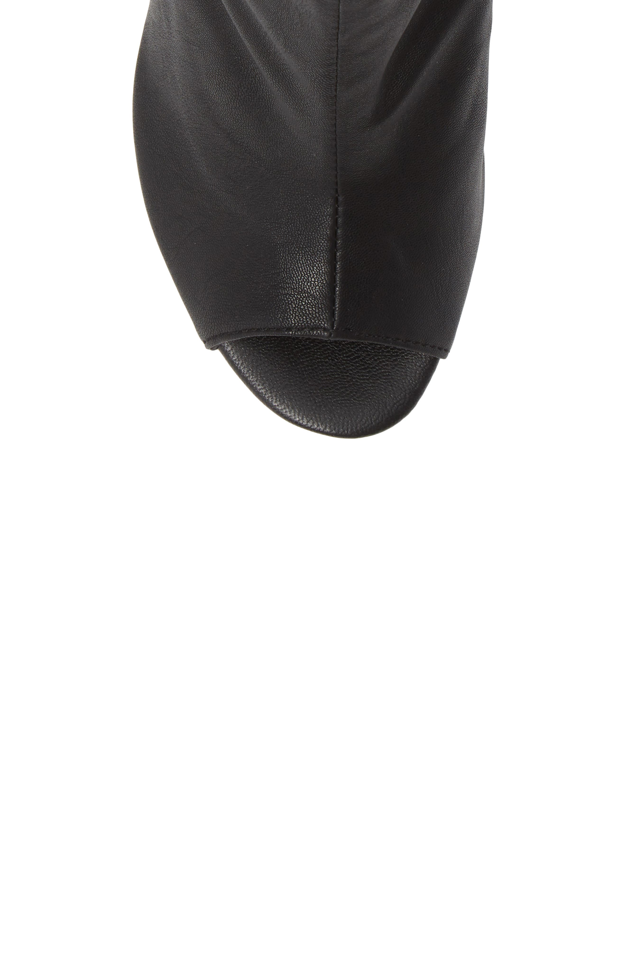 Tyra Peep Toe Platform Bootie,                             Alternate thumbnail 5, color,                             Black Fabric