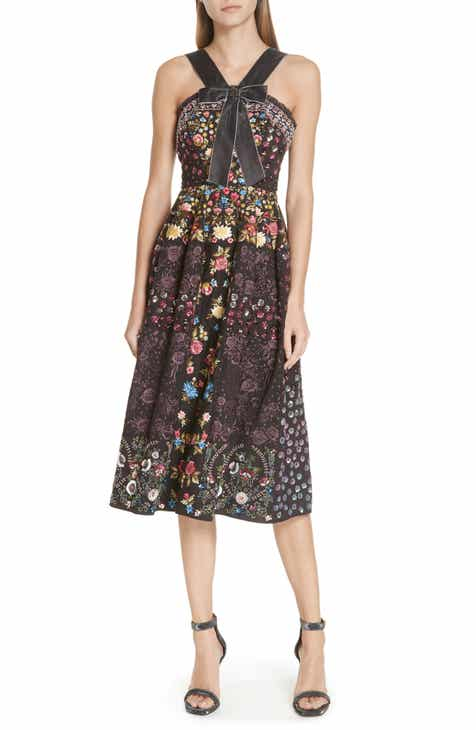 Needle Thread Patchwork Embroidered Bow Front Dress