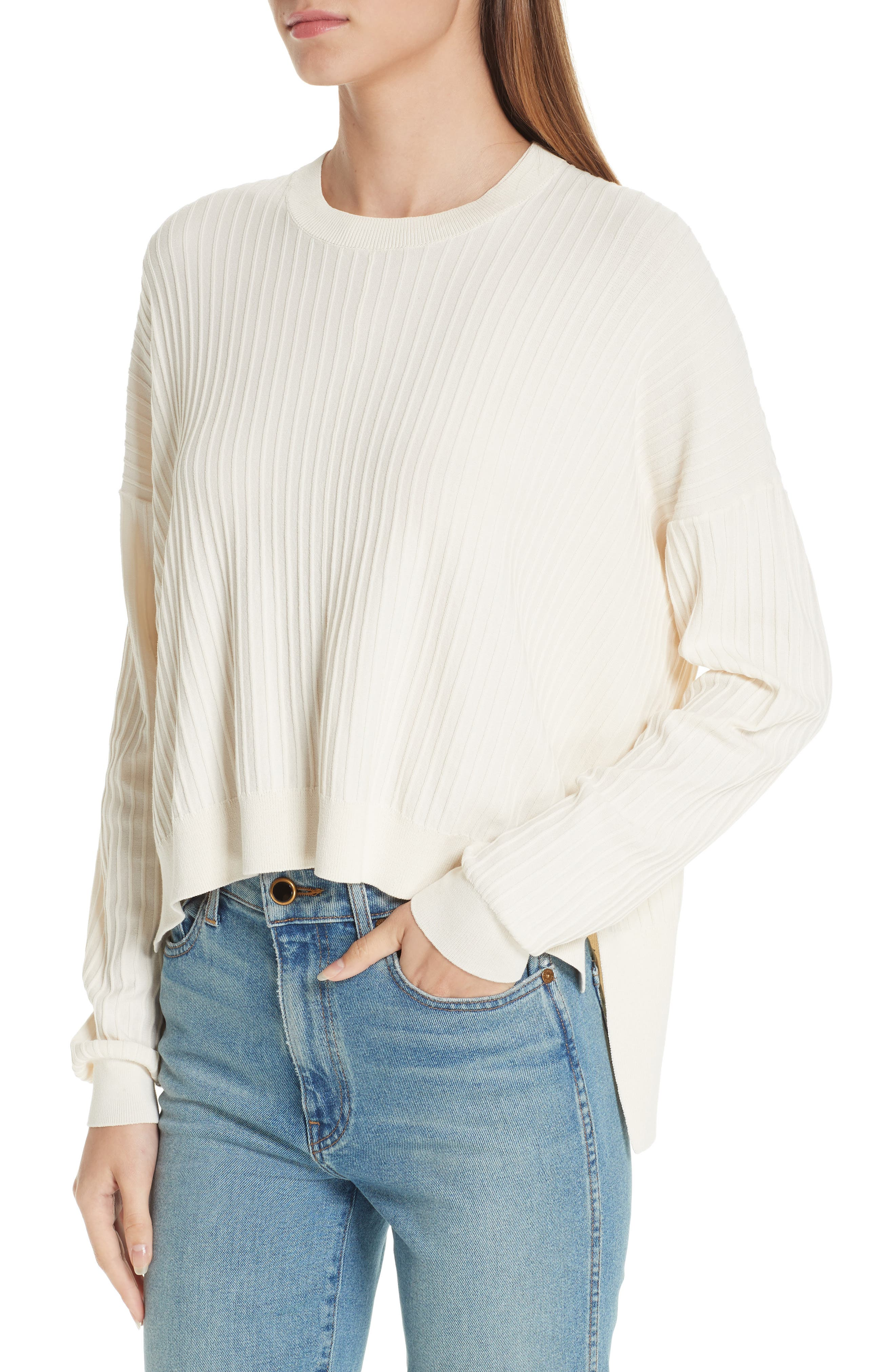 Issy Ribbed Sweater,                             Alternate thumbnail 4, color,                             Off-White