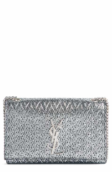 3cdc40d148bd Saint Laurent Small Kate Metallic Leather Chain Crossbody Bag