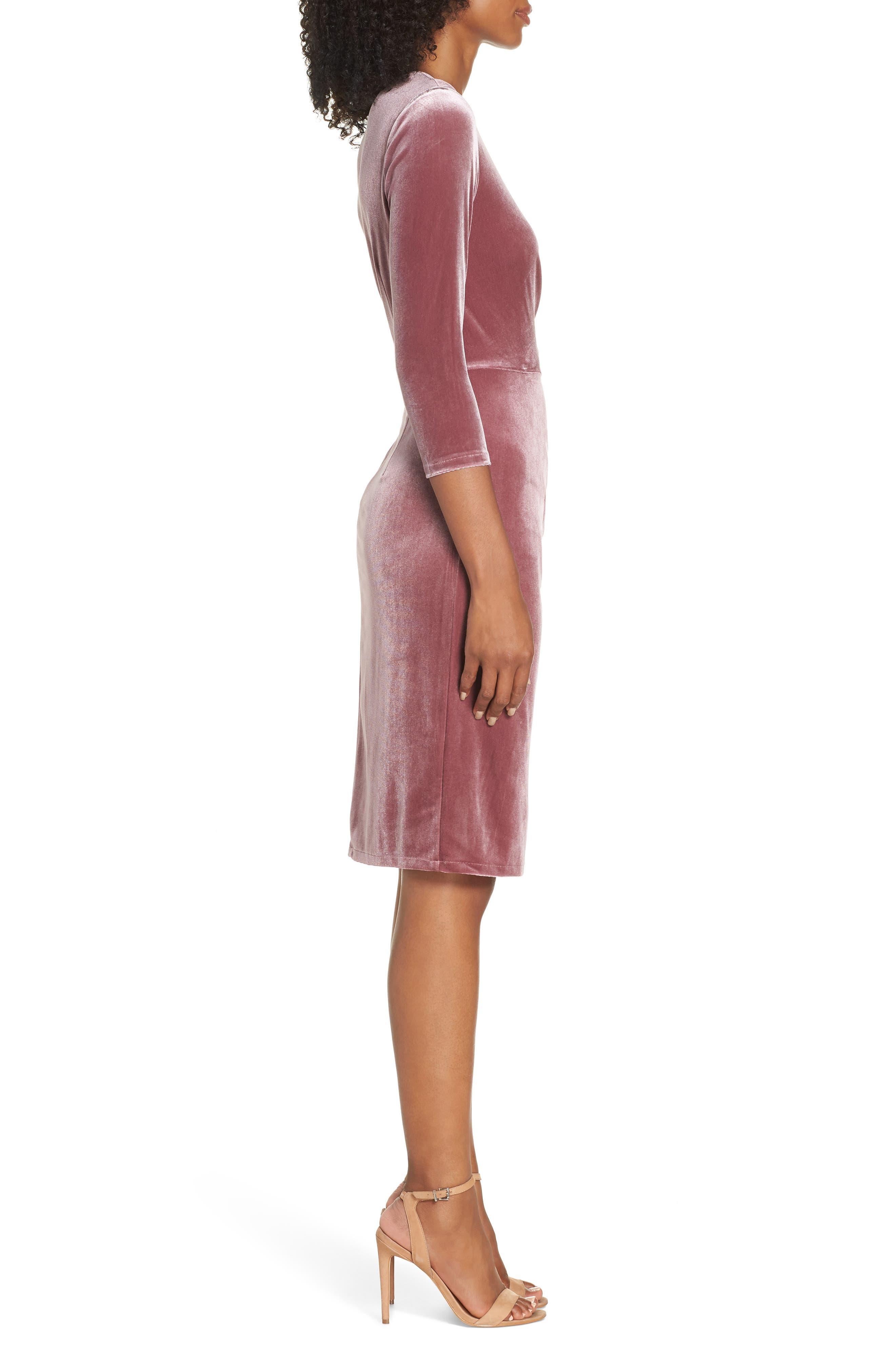 Velvet Sheath Dress,                             Alternate thumbnail 6, color,                             Rose