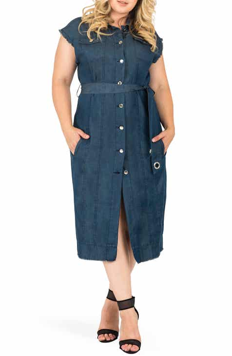 Standards & Practices Aida Denim Shirtdress (Plus Size)