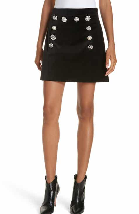 Veronica Beard Ording Crystal Button Velvet Miniskirt by VERONICA BEARD