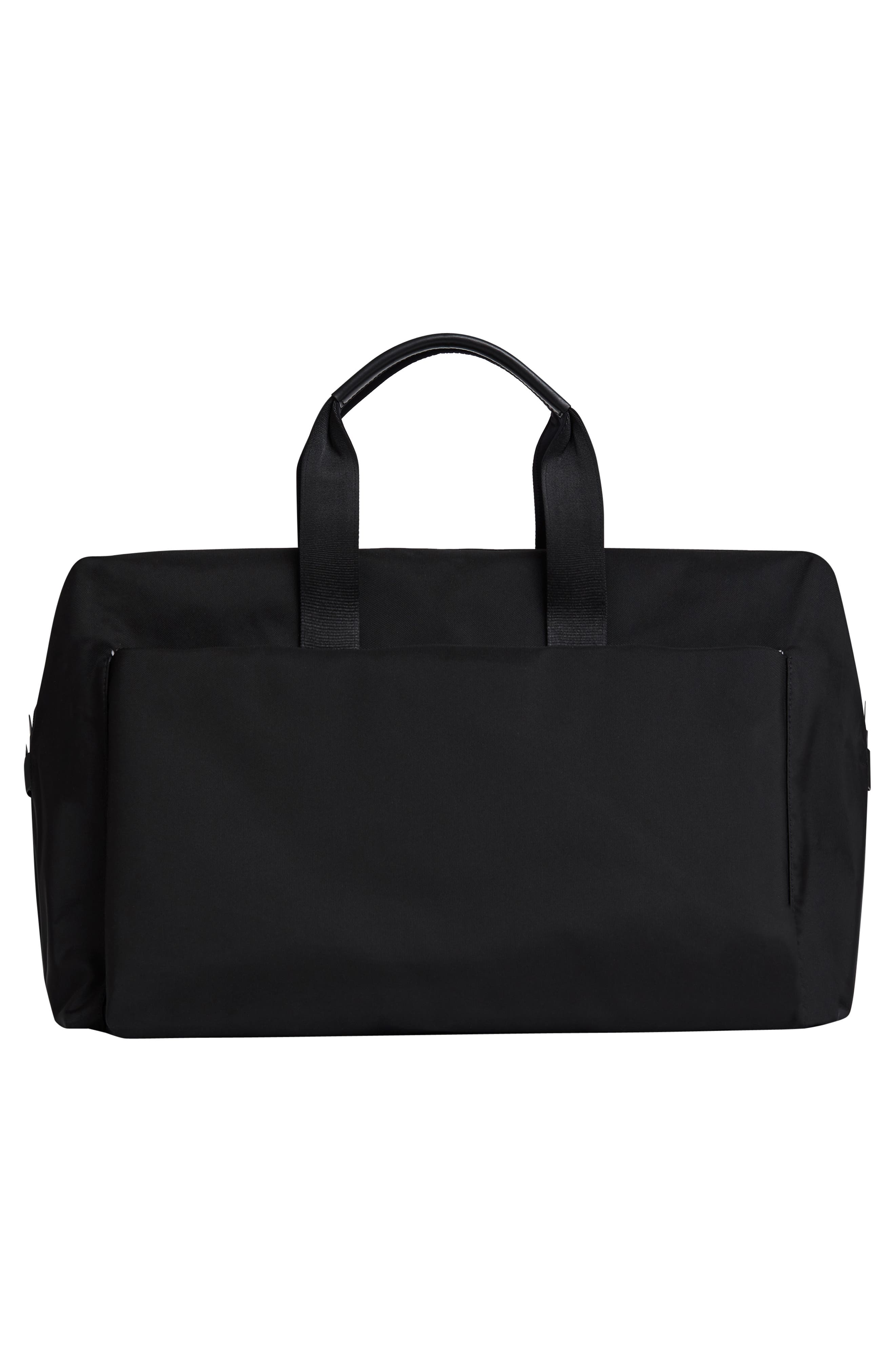 Lightweight Duffel Bag,                             Alternate thumbnail 4, color,                             Black Nylon/ Black Leather