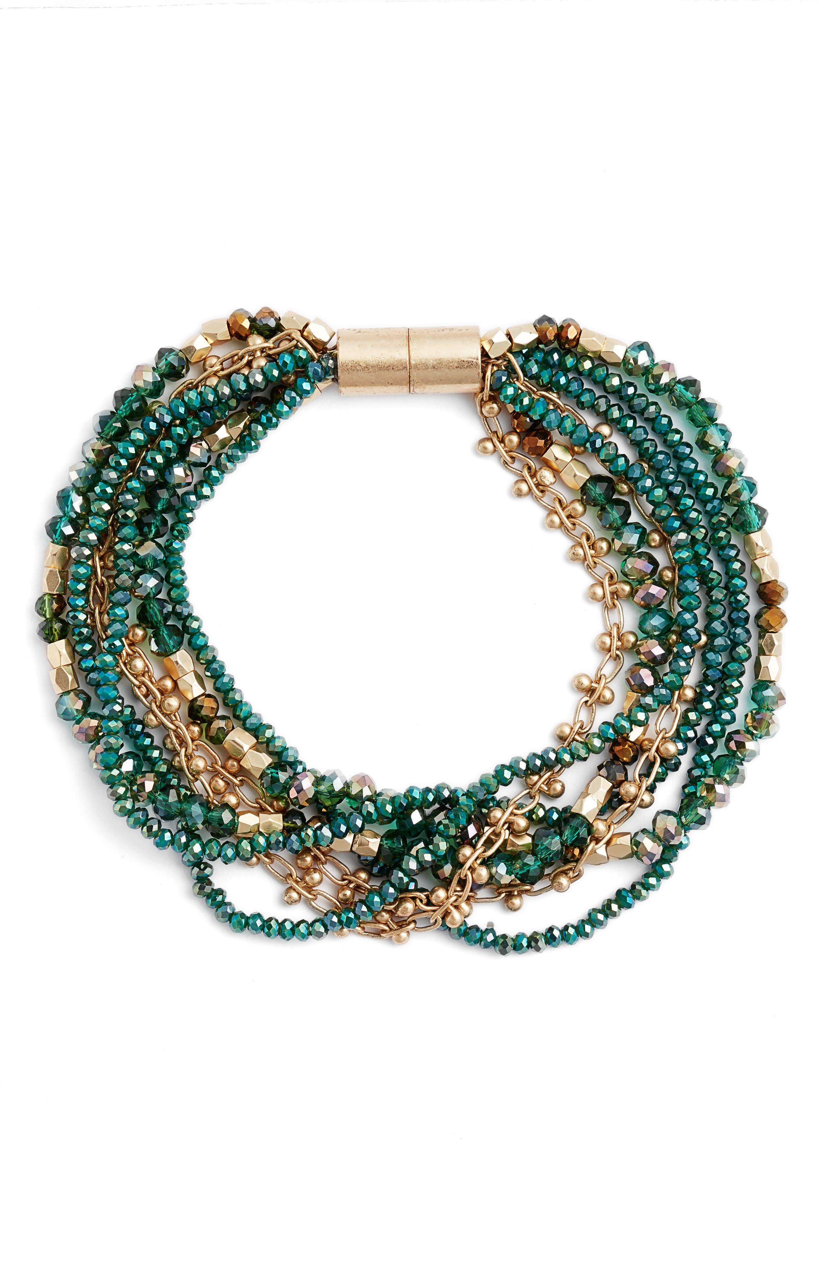 Layered Strand Bracelet,                         Main,                         color, Emerald- Gold