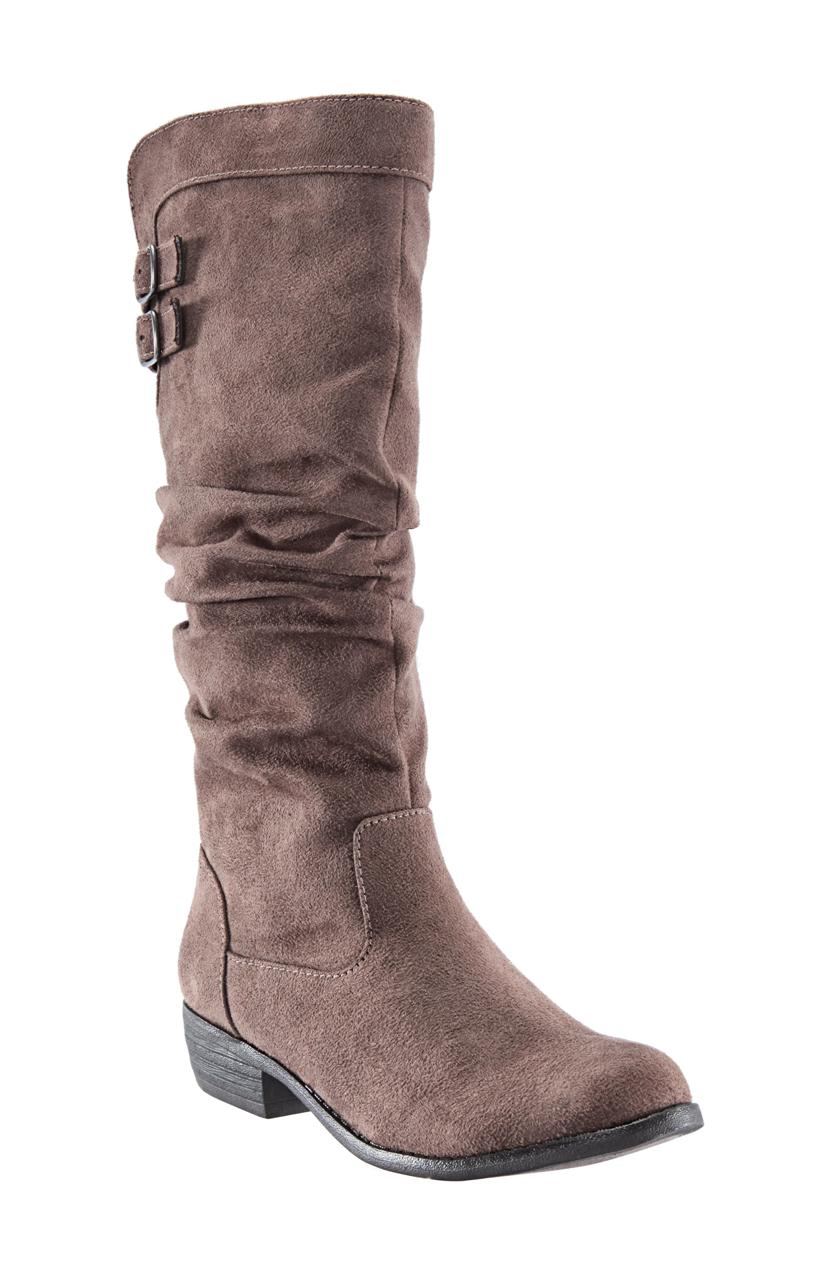Gilda Tall Slouchy Boot,                         Main,                         color, Taupe Burnished Micro Suede
