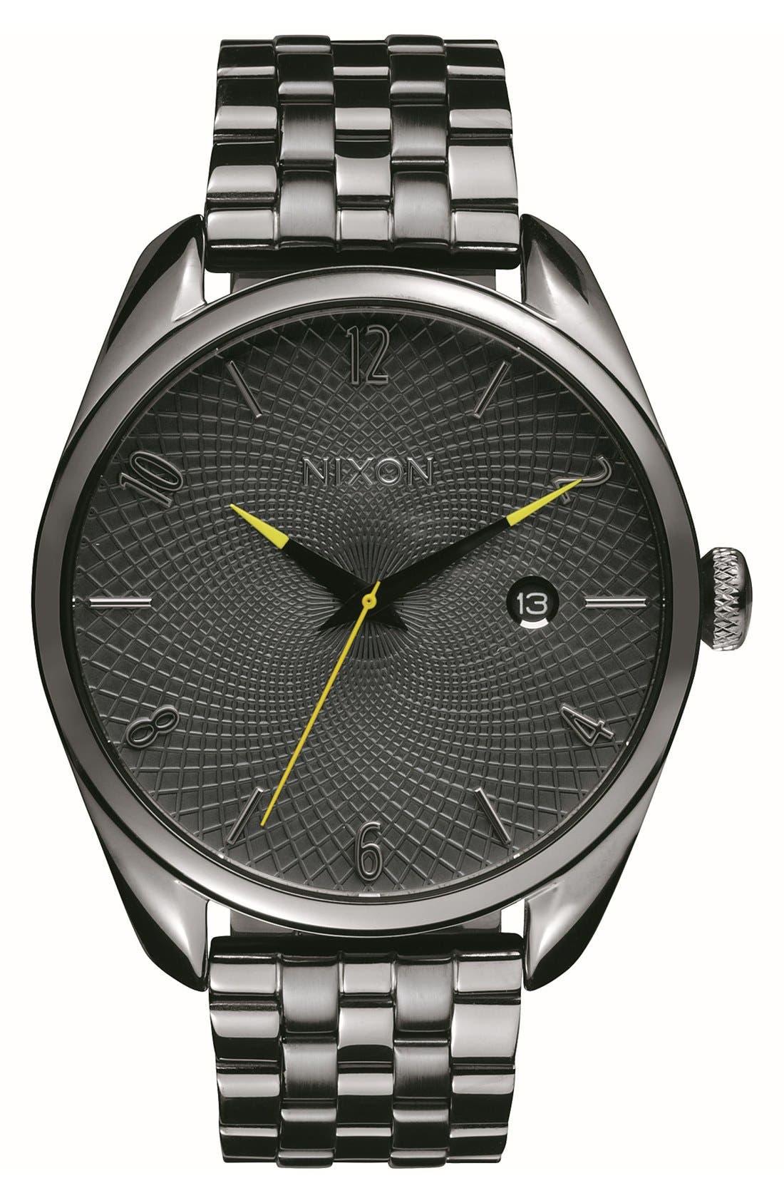 'Bullet' Guilloche Dial Bracelet Watch, 38mm,                         Main,                         color, Gunmetal