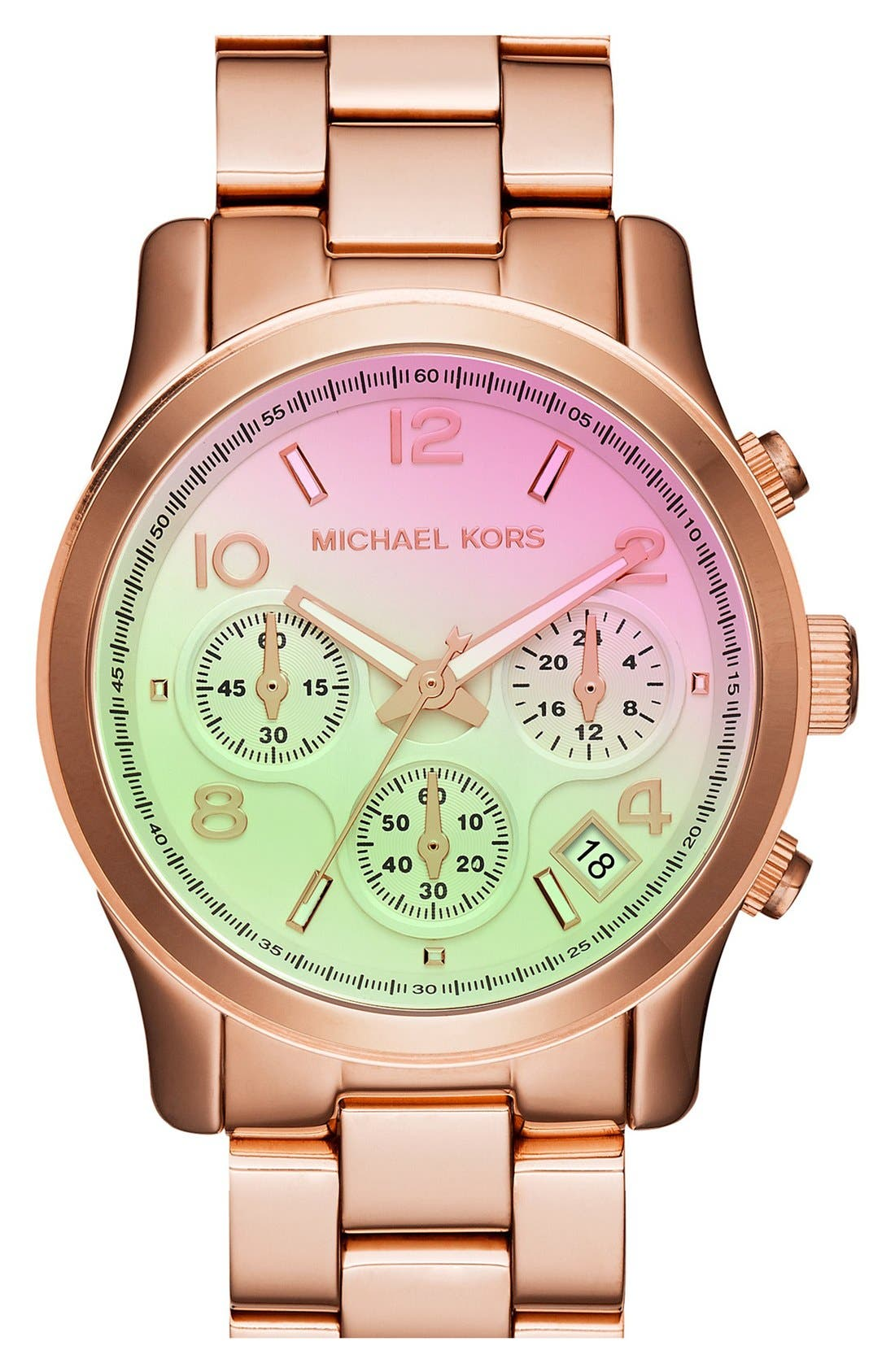 'Runway' Chronograph Watch, 38mm,                         Main,                         color, Rose Gold/ Pink