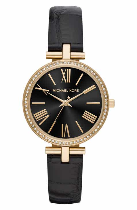 ebdab490650 Michael Kors Maci Leather Strap Watch