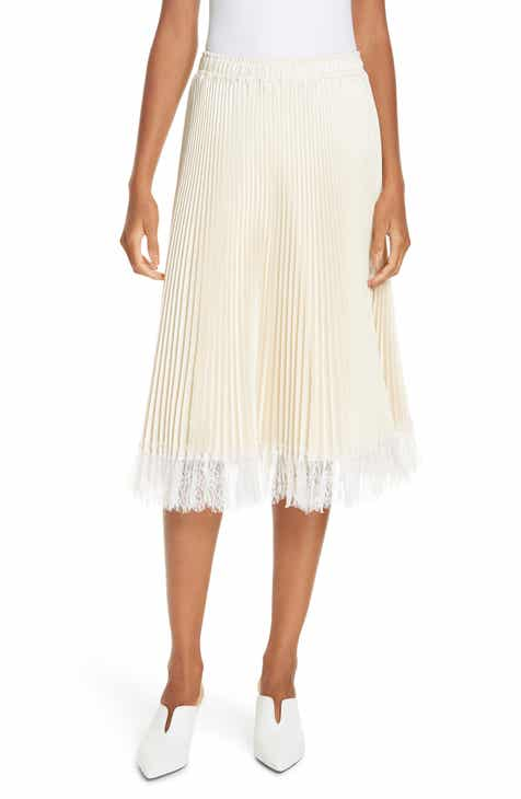 Clu Pleated Metallic Lace Trim Skirt by CLU