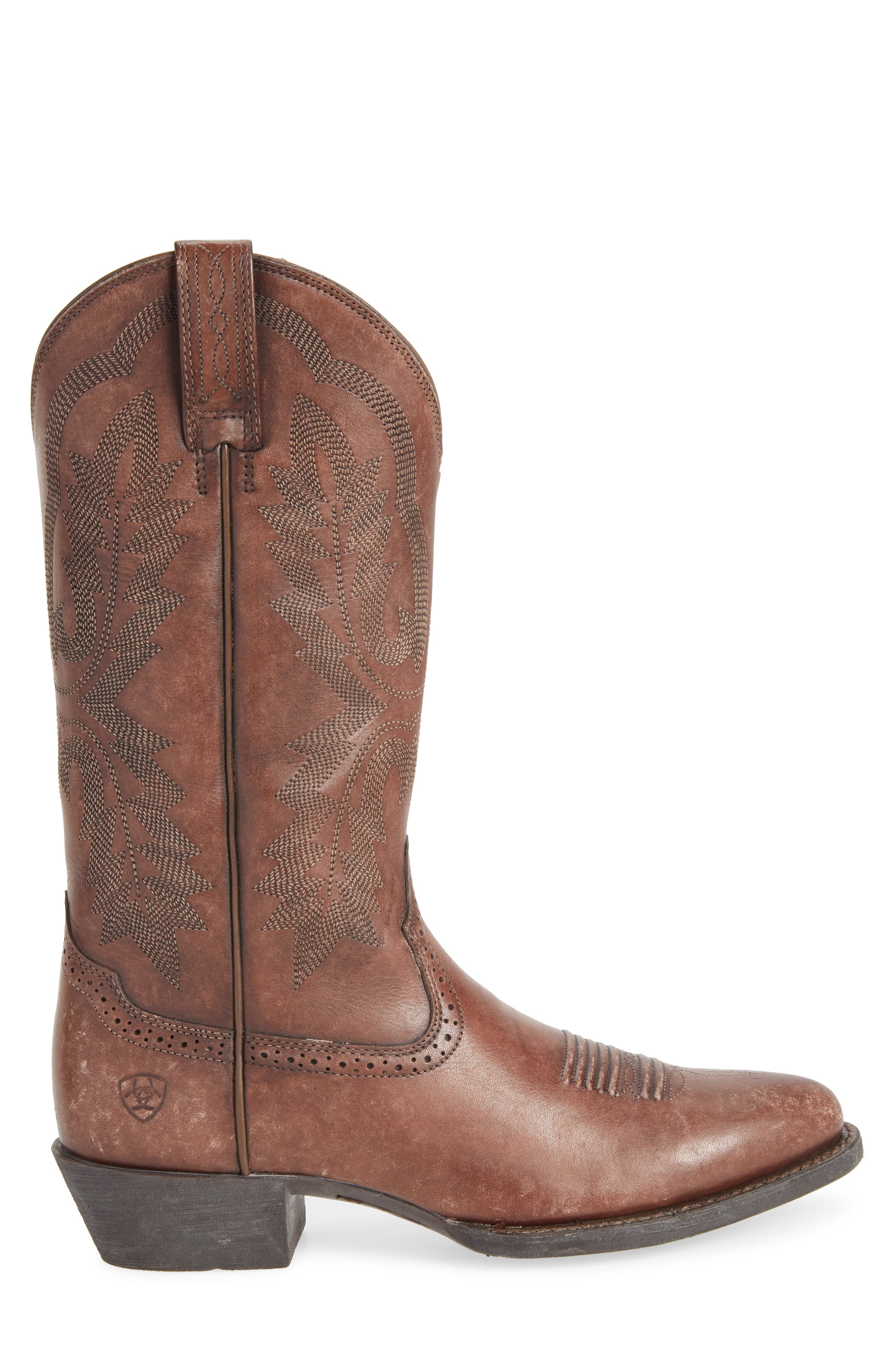 Heritage Calhoun Western R-Toe Boot,                             Alternate thumbnail 3, color,                             Natural Brown Leather