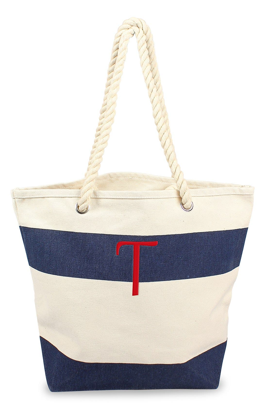 Cathy's Concepts Monogram Stripe Canvas Tote