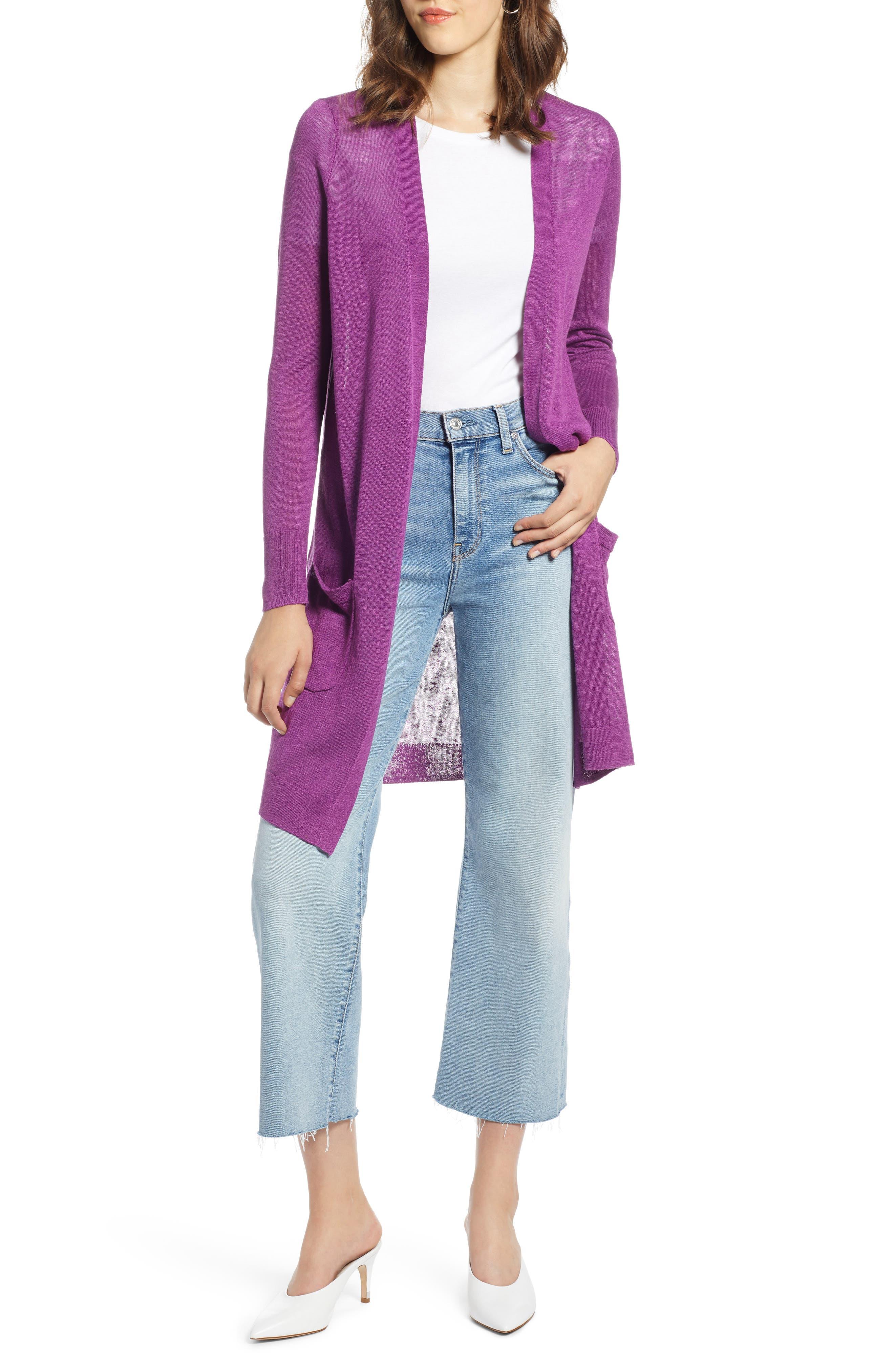 Long Linen Blend Cardigan,                             Main thumbnail 1, color,                             Purple Sparkle