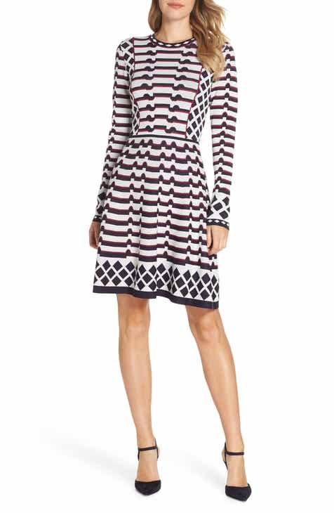 fcabd02c0f Eliza J Artwork Jacquard Sweater Dress (Regular   Petite)